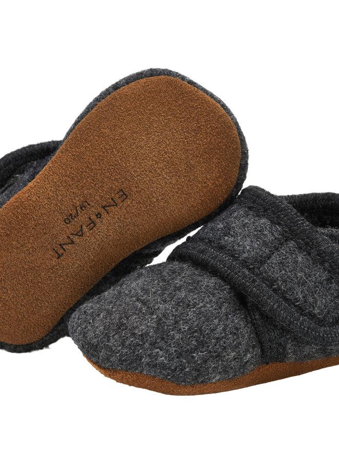 Enfant - Baby Wool Slippers, dark grey melange