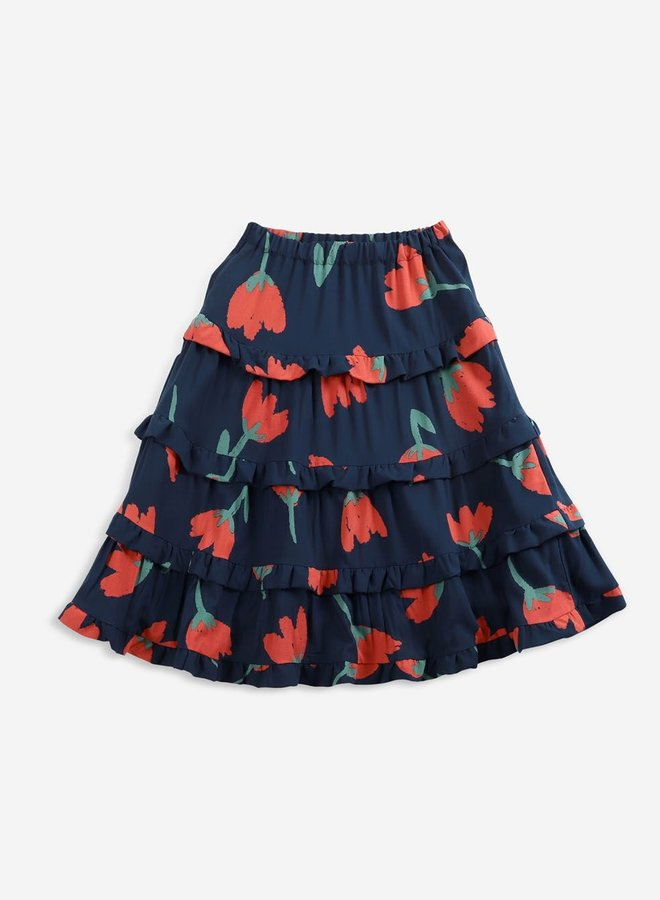 Bobo Choses Big Flowers woven ruffle skirt