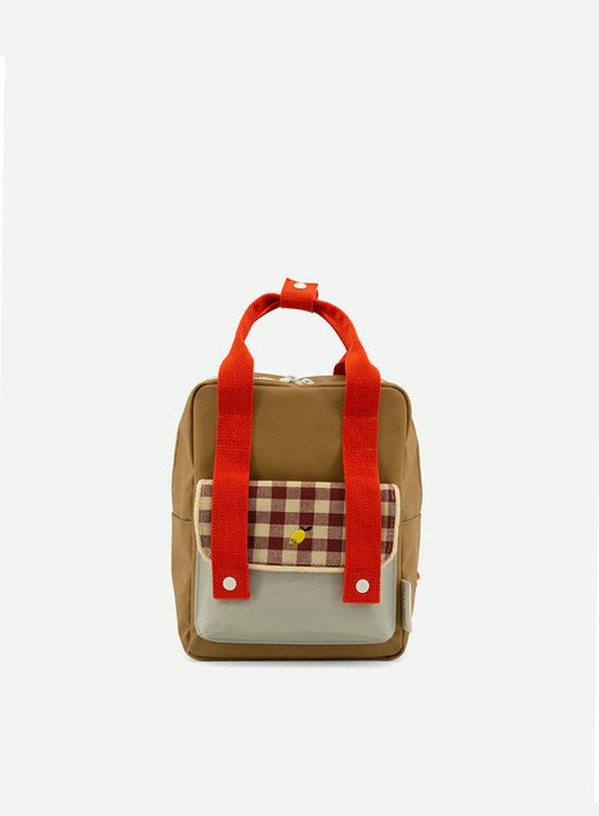 Sticky Lemon - Small Backpack gingham, pool green + apple red + leaf green