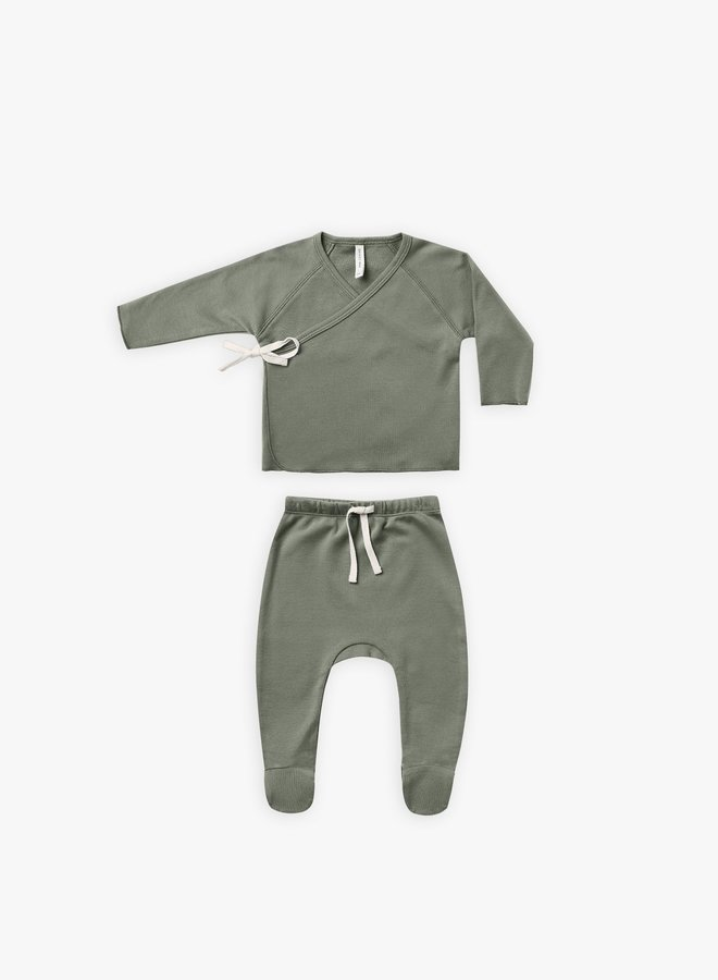 Quincy Mae - Wrap Top and Pant set, basil