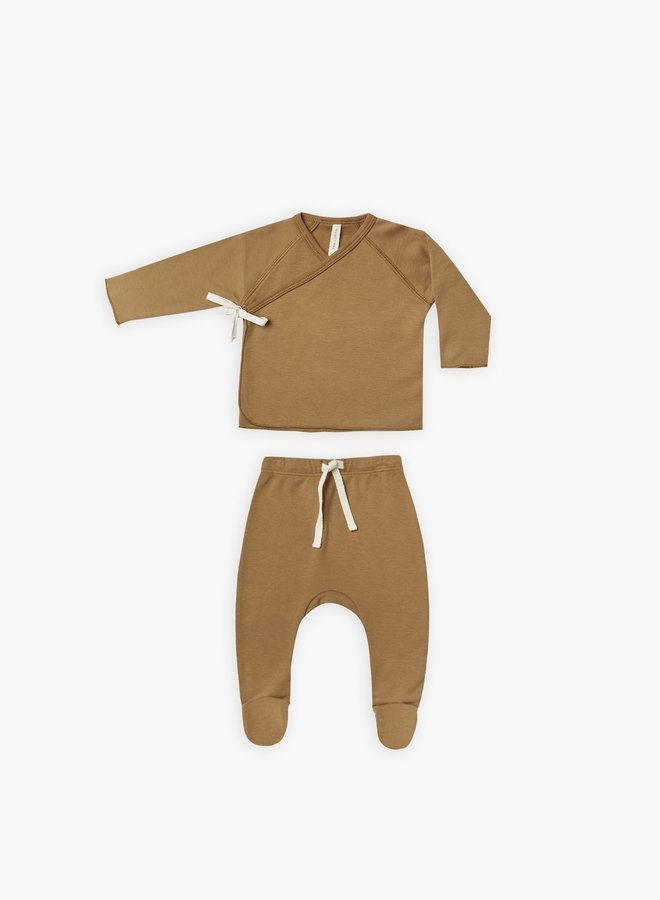 Quincy Mae - Wrap Top and Pant set, walnut