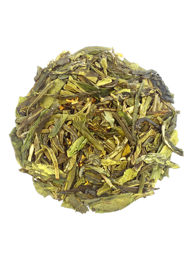 Or Tea? Dragon Well aves Osmanthus - Thé vert floral  (90g)
