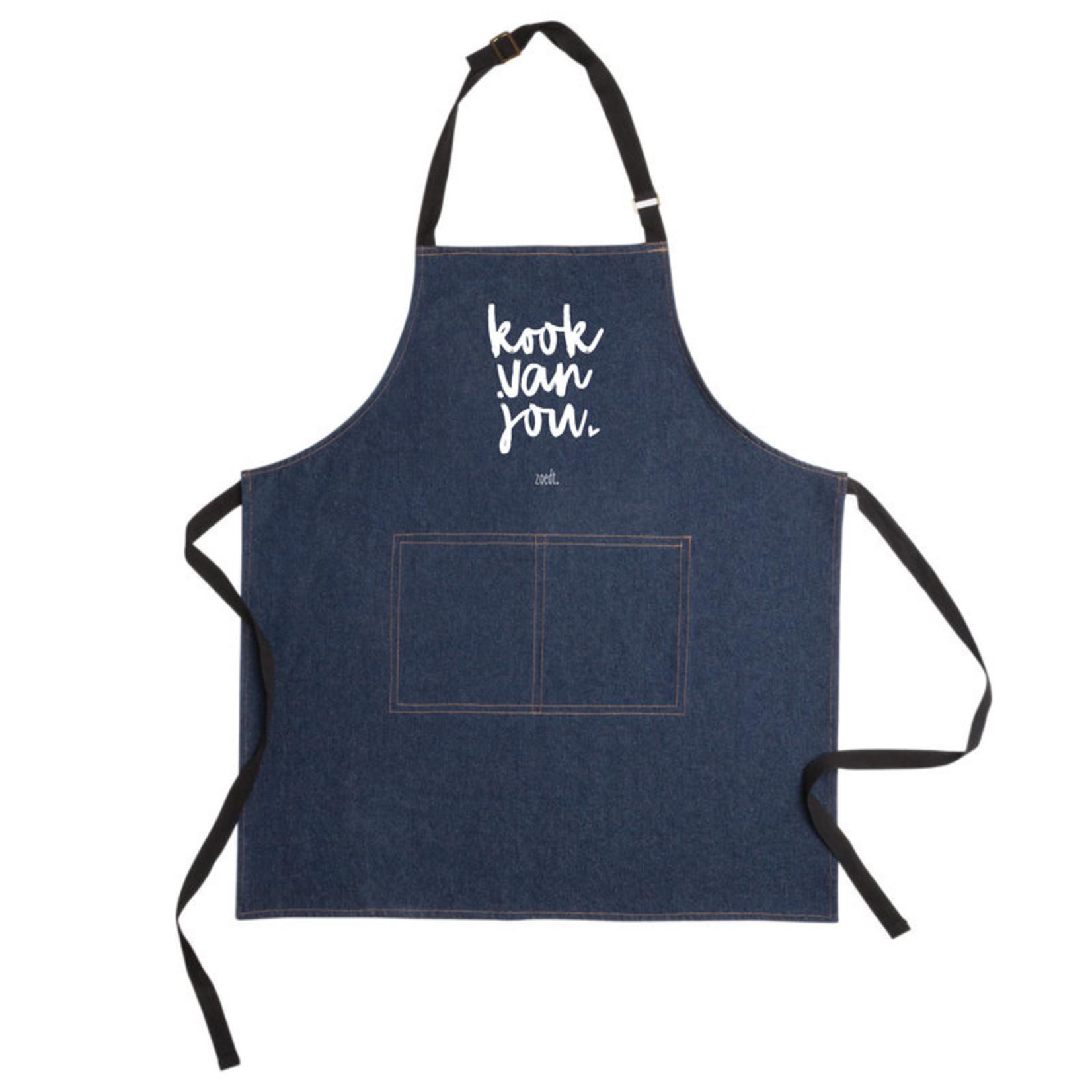 Denim keukenschort 'Kook van jou'