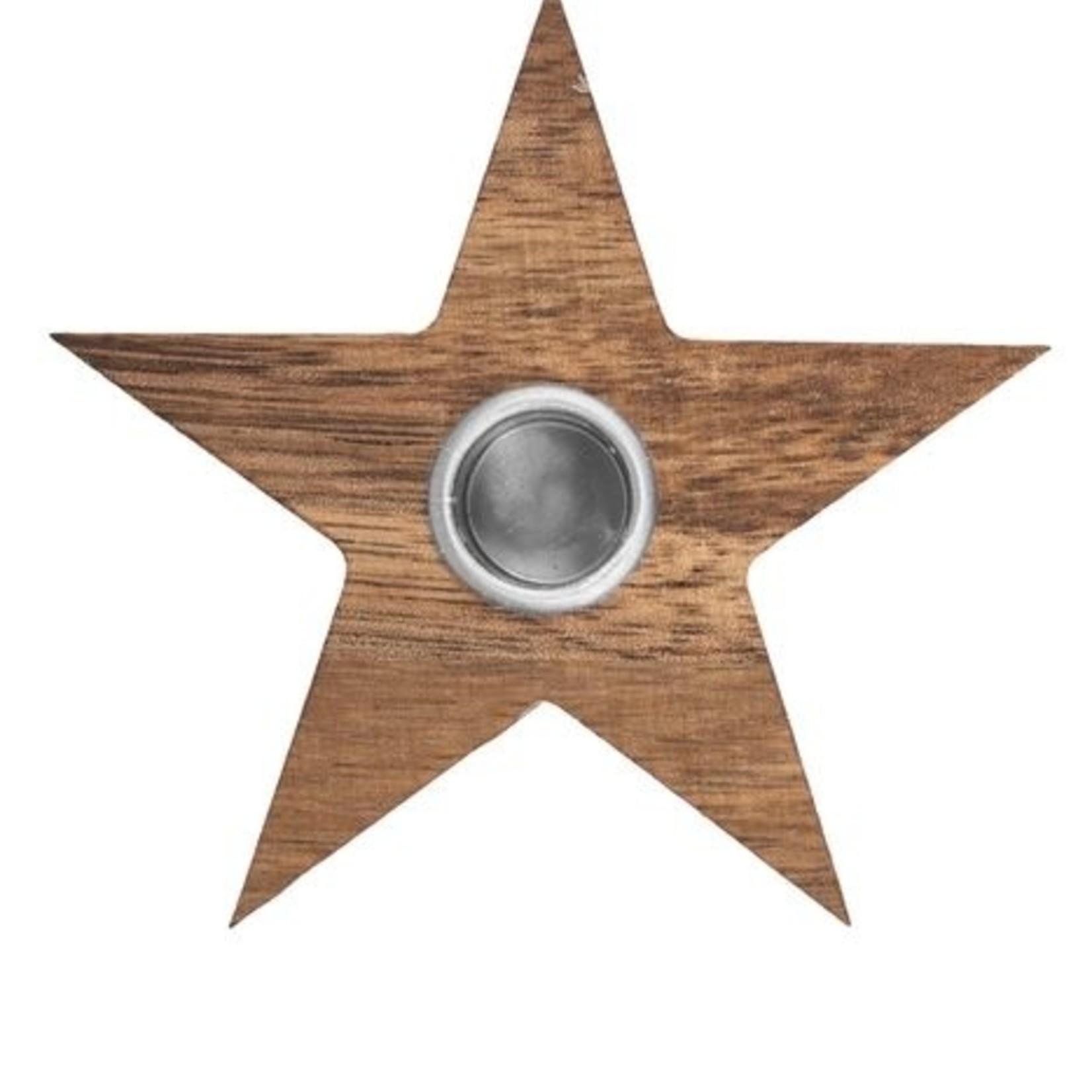 Kandelaar sterretje hout Zusss