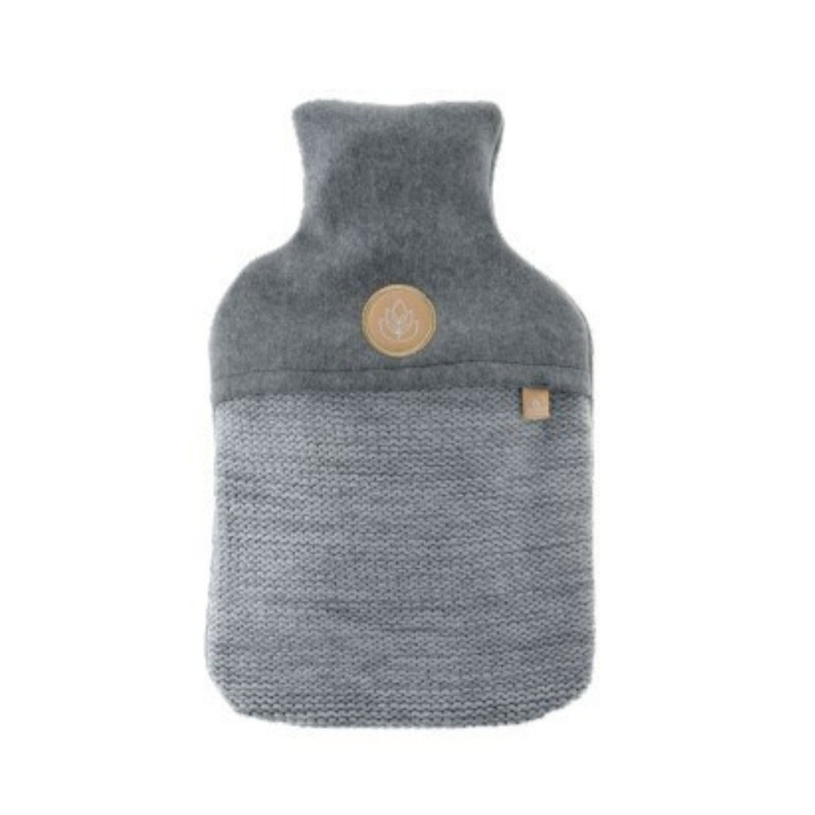 Knitted grey hot Water Bottle 2L