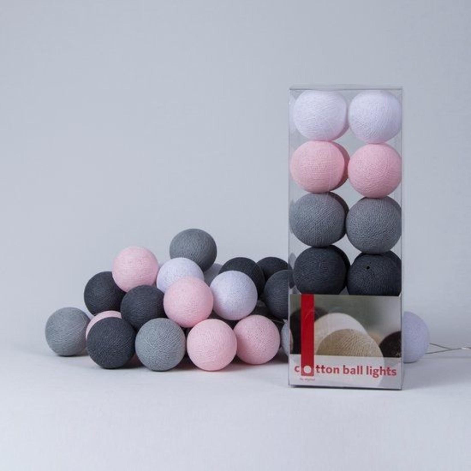 Cotton Ball Lights - Pink/Grey