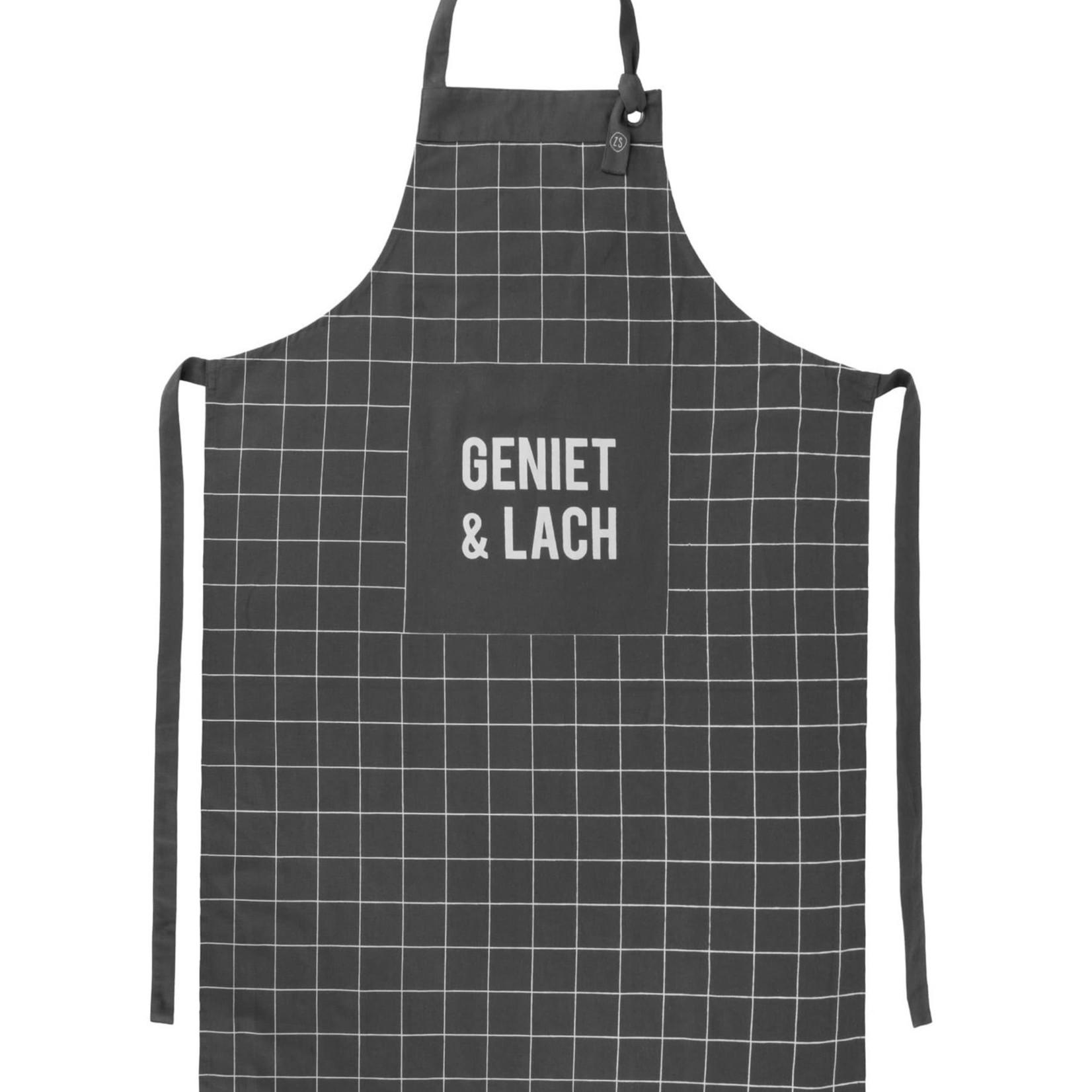 "Keukenschort ""Geniet & Lach"" - Antracietgrijs"