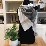 Sjaal met pompons - Grijs