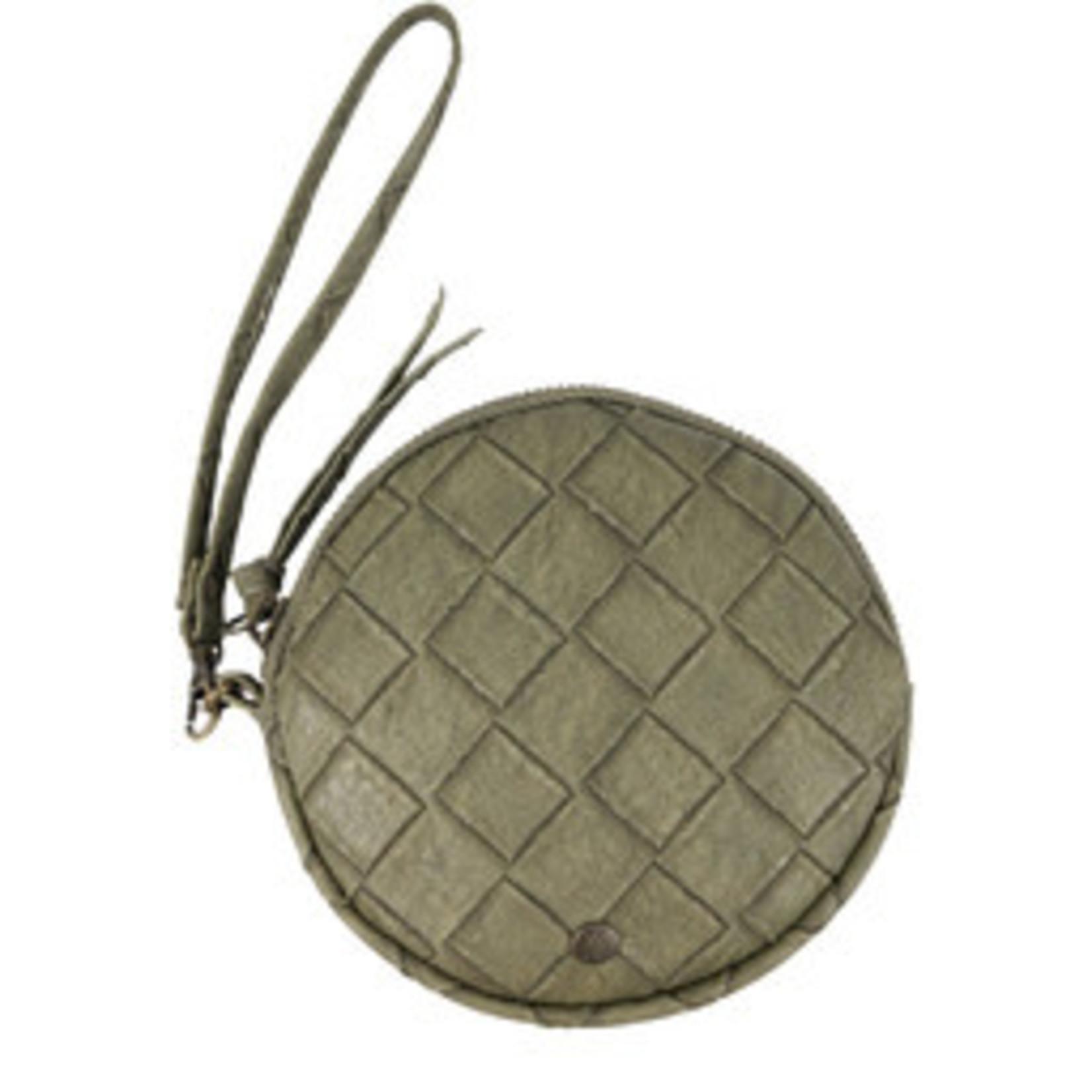 Rond tasje (portemonnee) zusss - Groen gevlochten