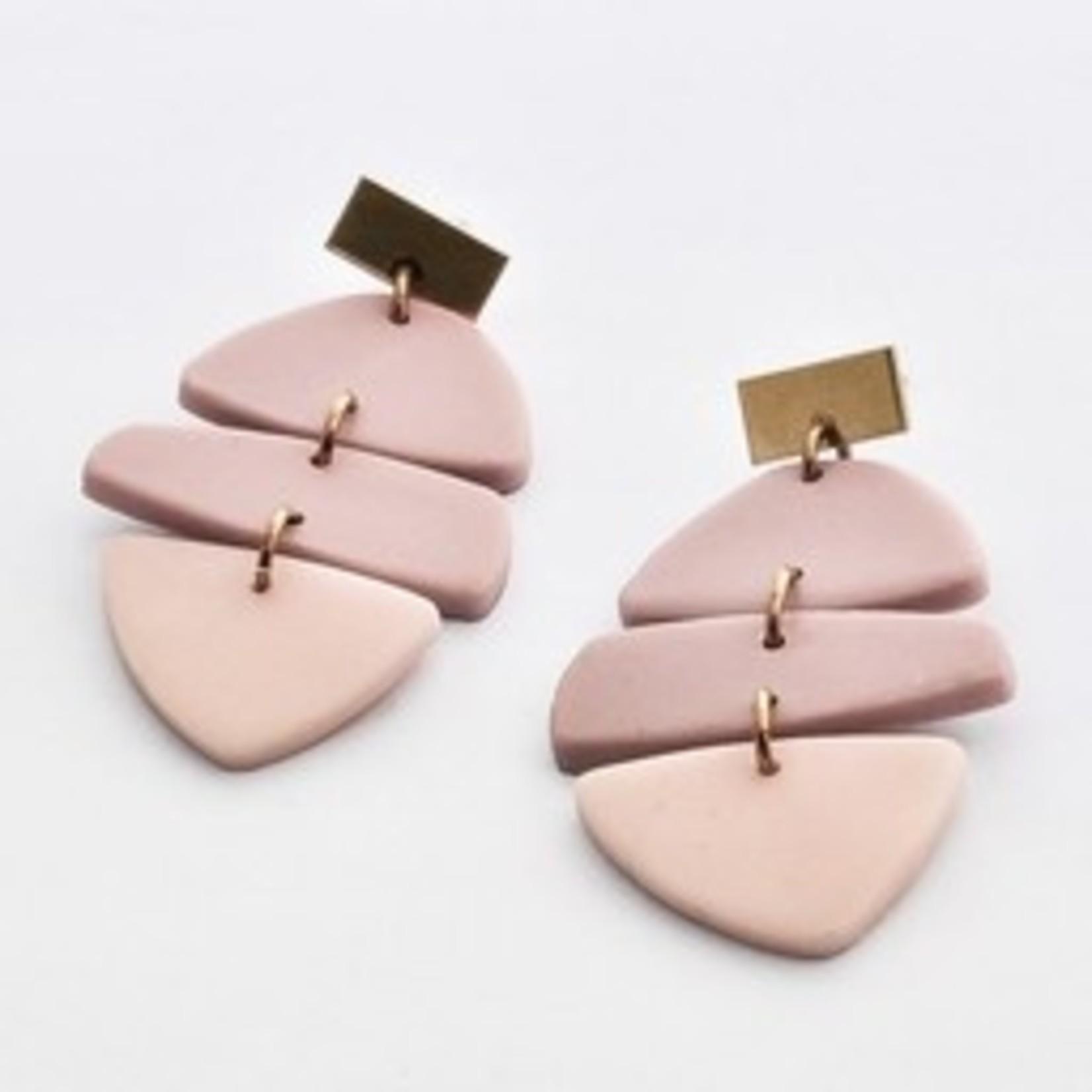 Oorbellen Tinted Triple (Pink mix) - Inimini Homemade