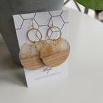 Oorbellen goud hout rond