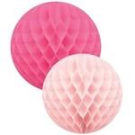 Pink/fuchsia honeycomb ball set