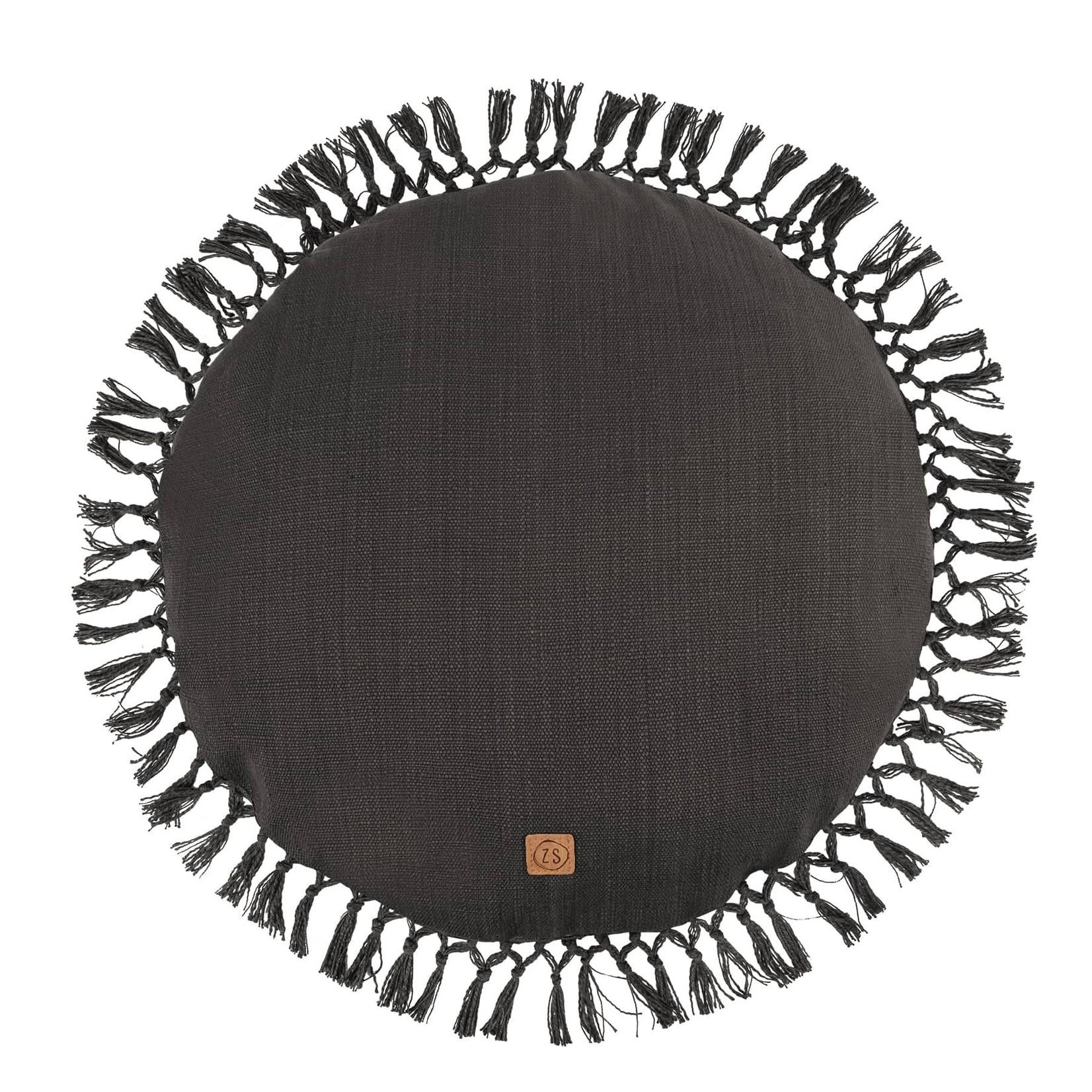 Zusss Rond kussen met kwastjes - Grafietgrijs - 45cm