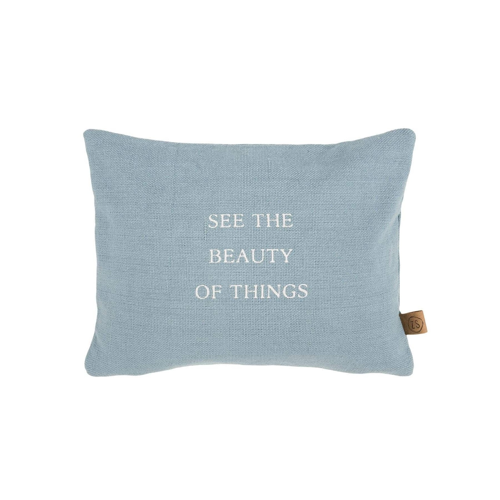 """Zusss Kussen - """"See the beauty of things"""" - grijs-blauw - 35x25cm"""