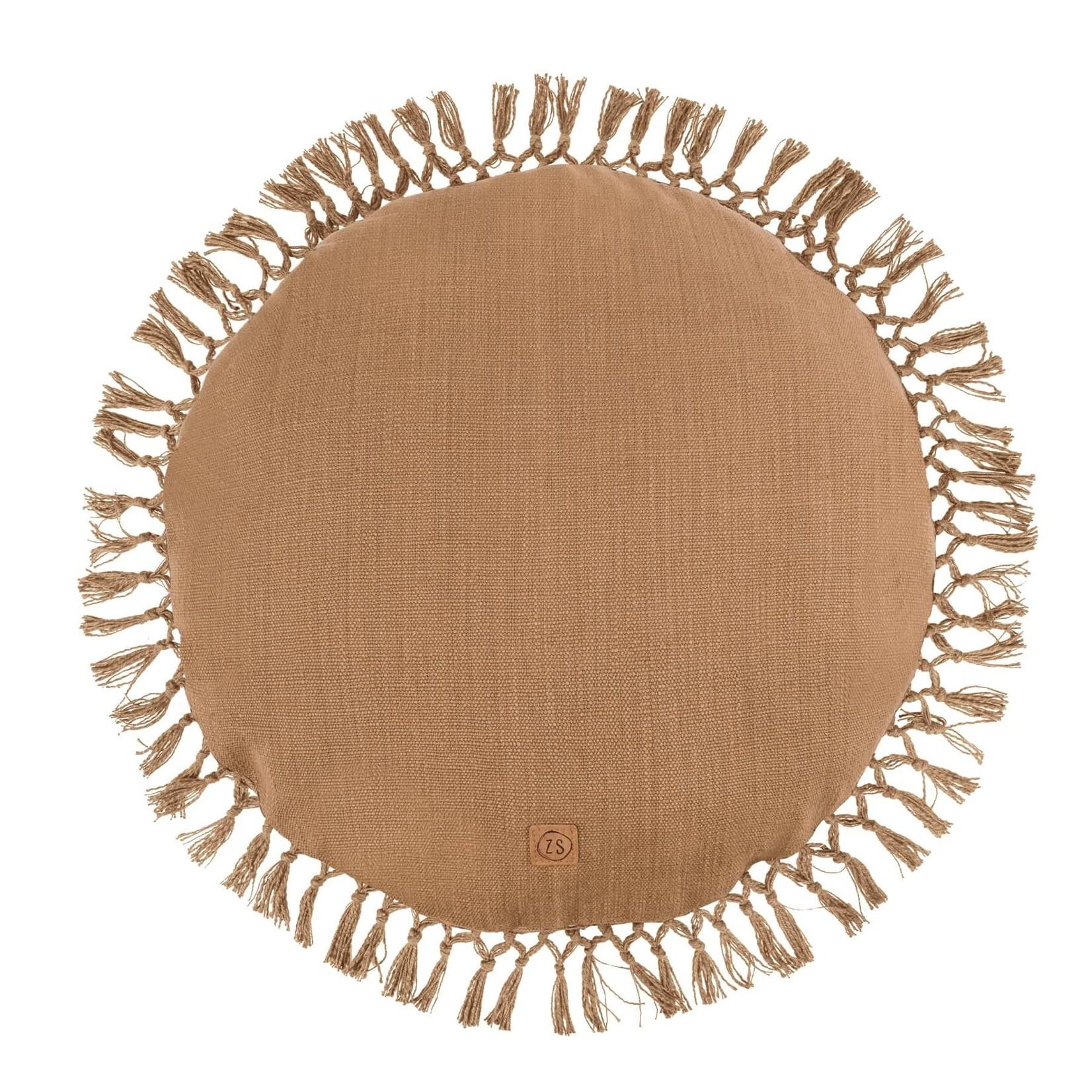 Zusss Rond kussen met kwastjes - Kaki - 45cm