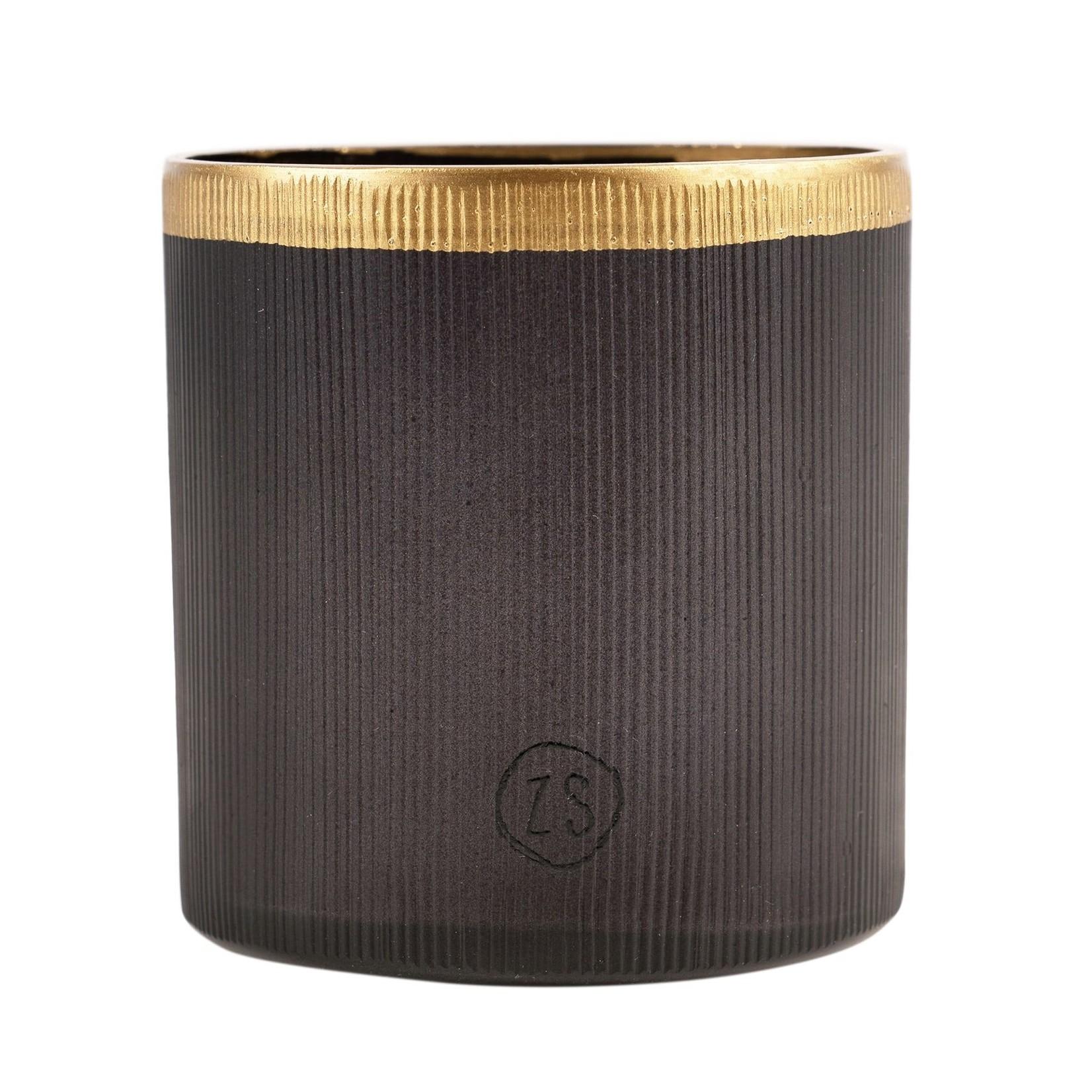 Zusss Theelichthouder - Glas - Zwart/Goud