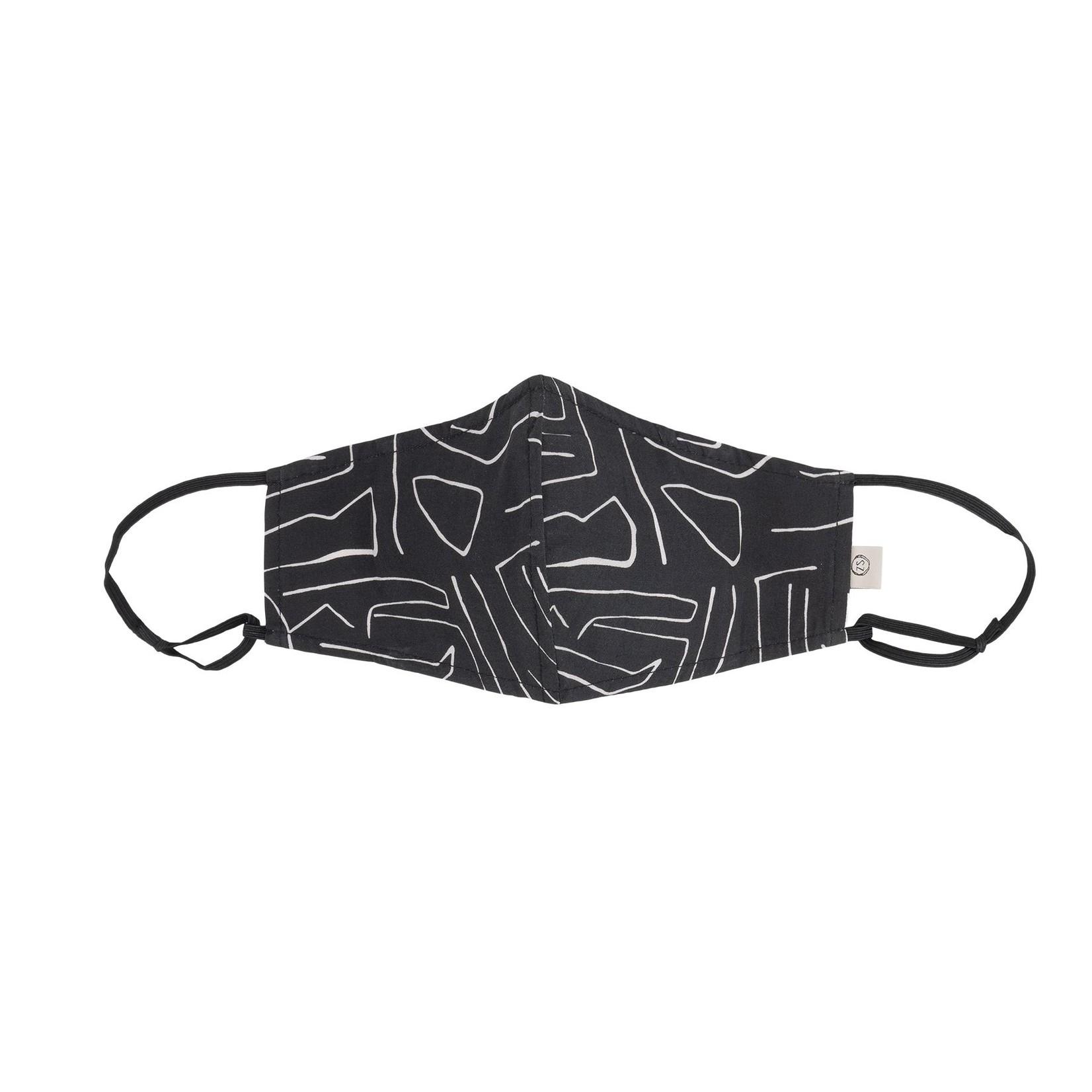 Stoffen mondkapje safariprint zwart