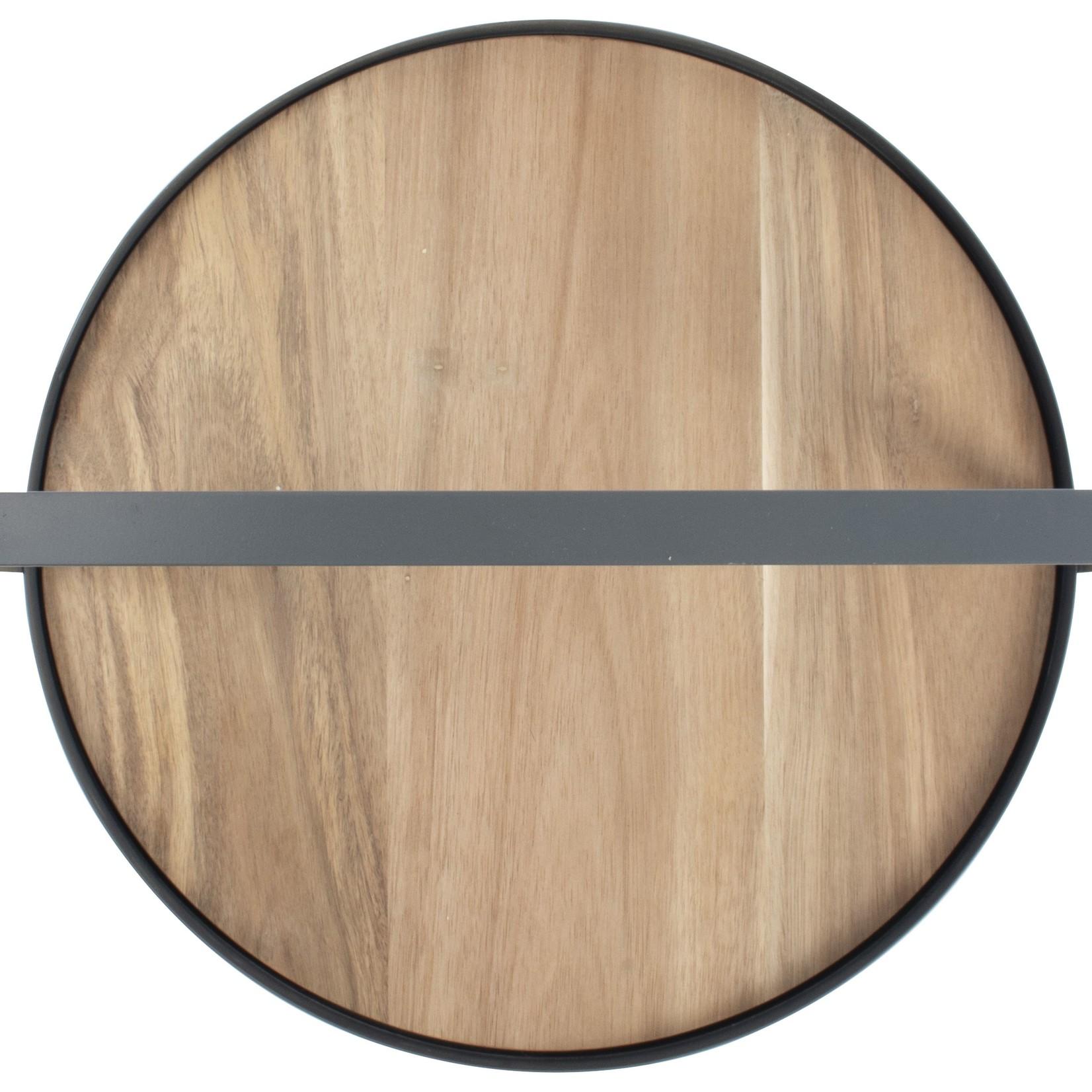 Gusta serveertray met hout 35cm Grijs