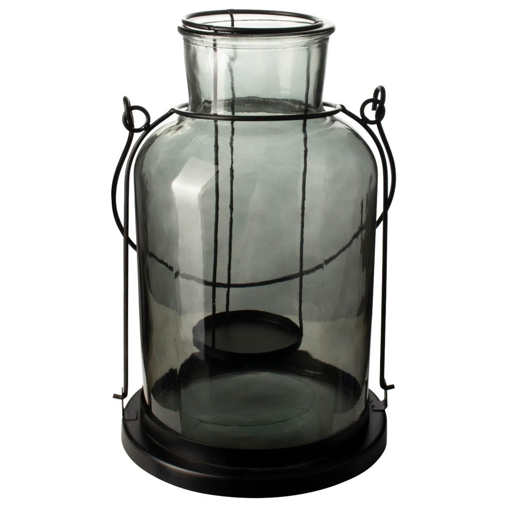 Gusta glazen lantaarn 17x30cm zwartgroen