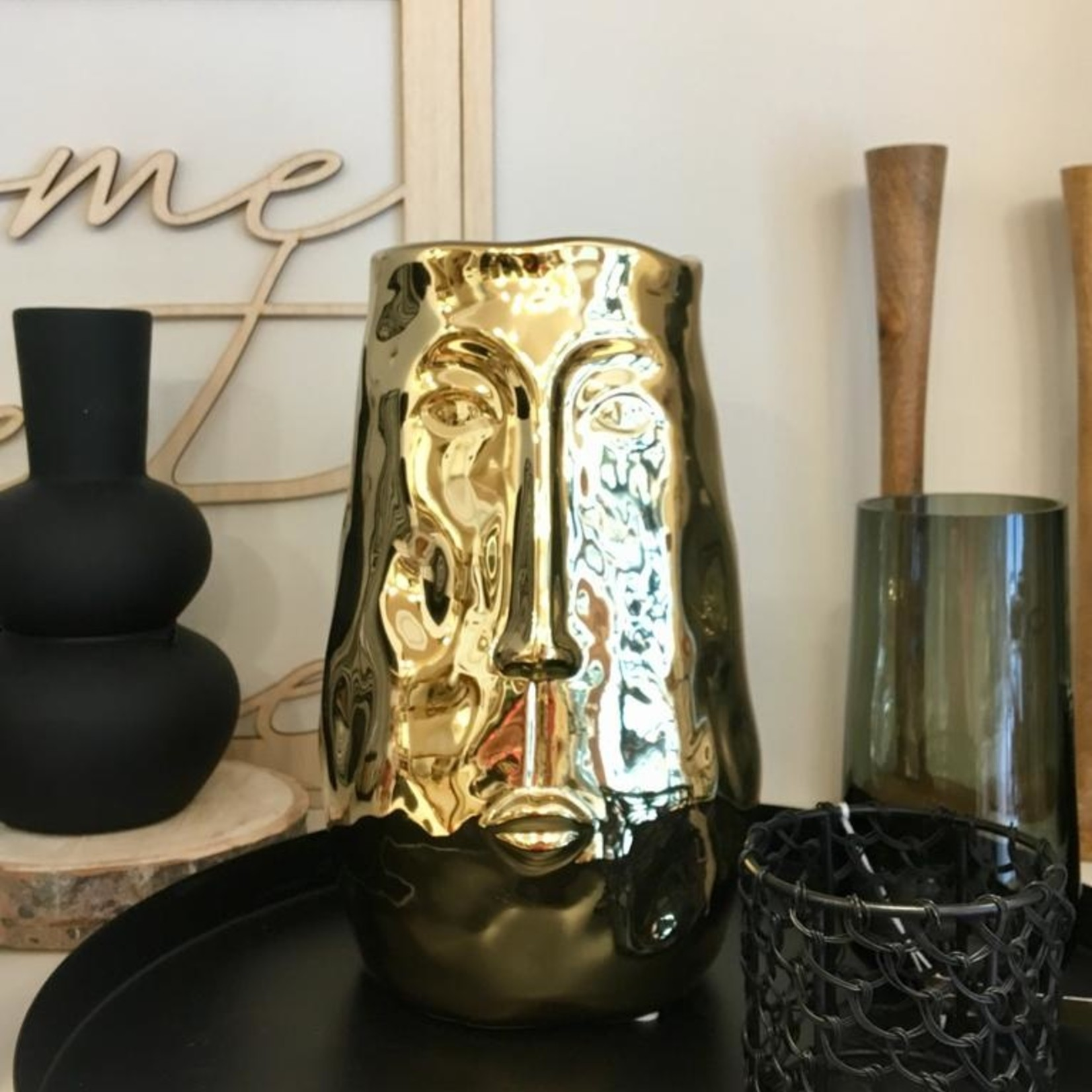 Gusta Vaas met gezicht - Goud