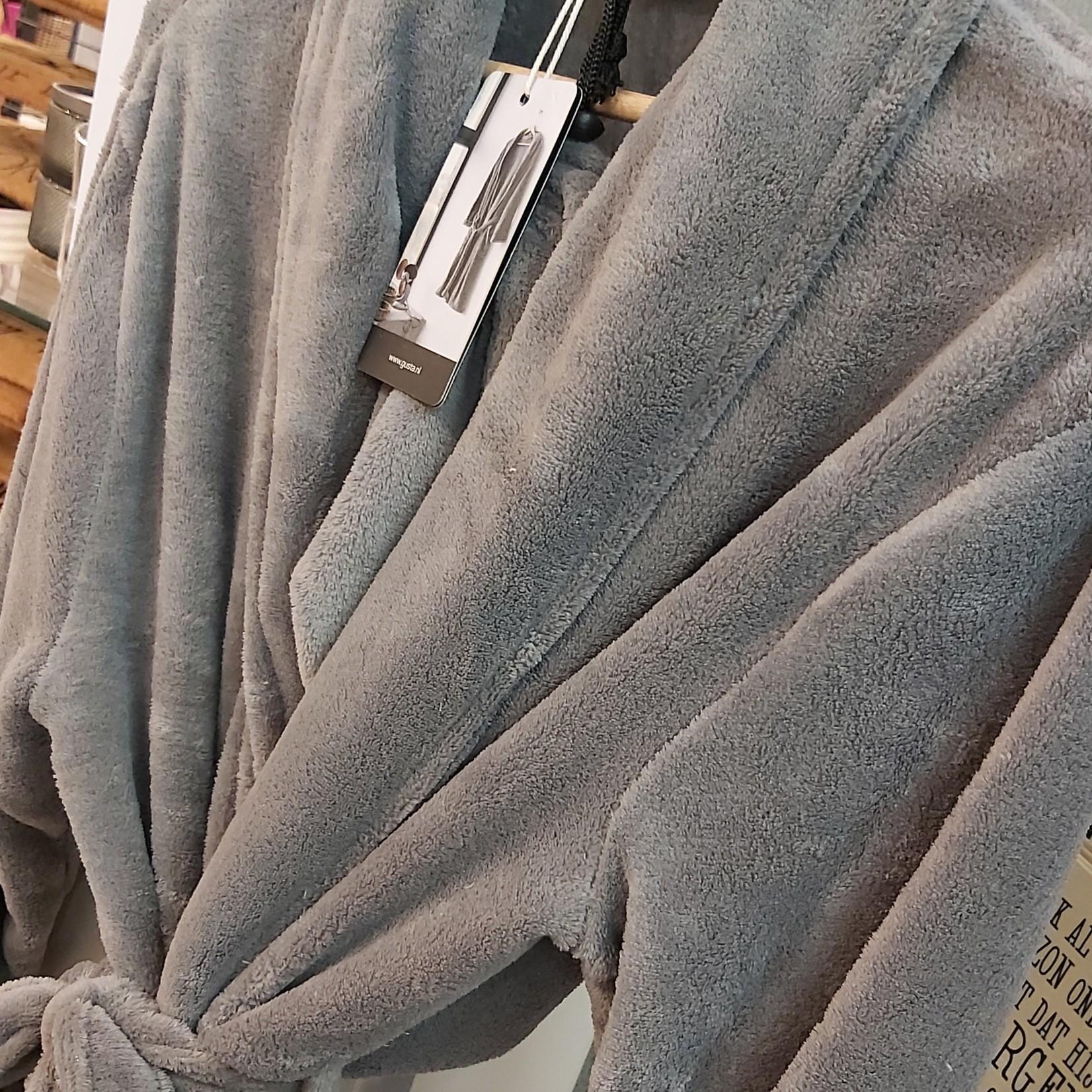 Gusta fleece badjas lichtgrijs