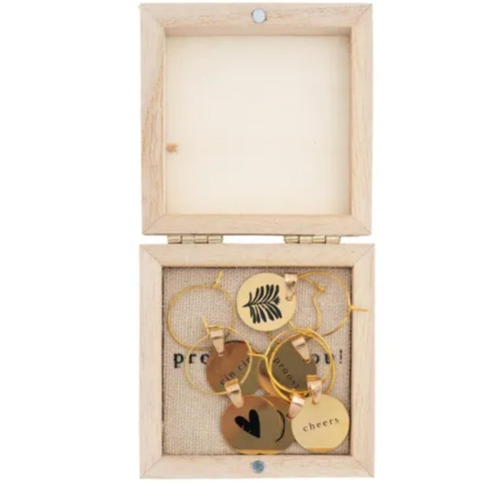 Zusss Wijnglas hangertjes - Metaal - Set van 6