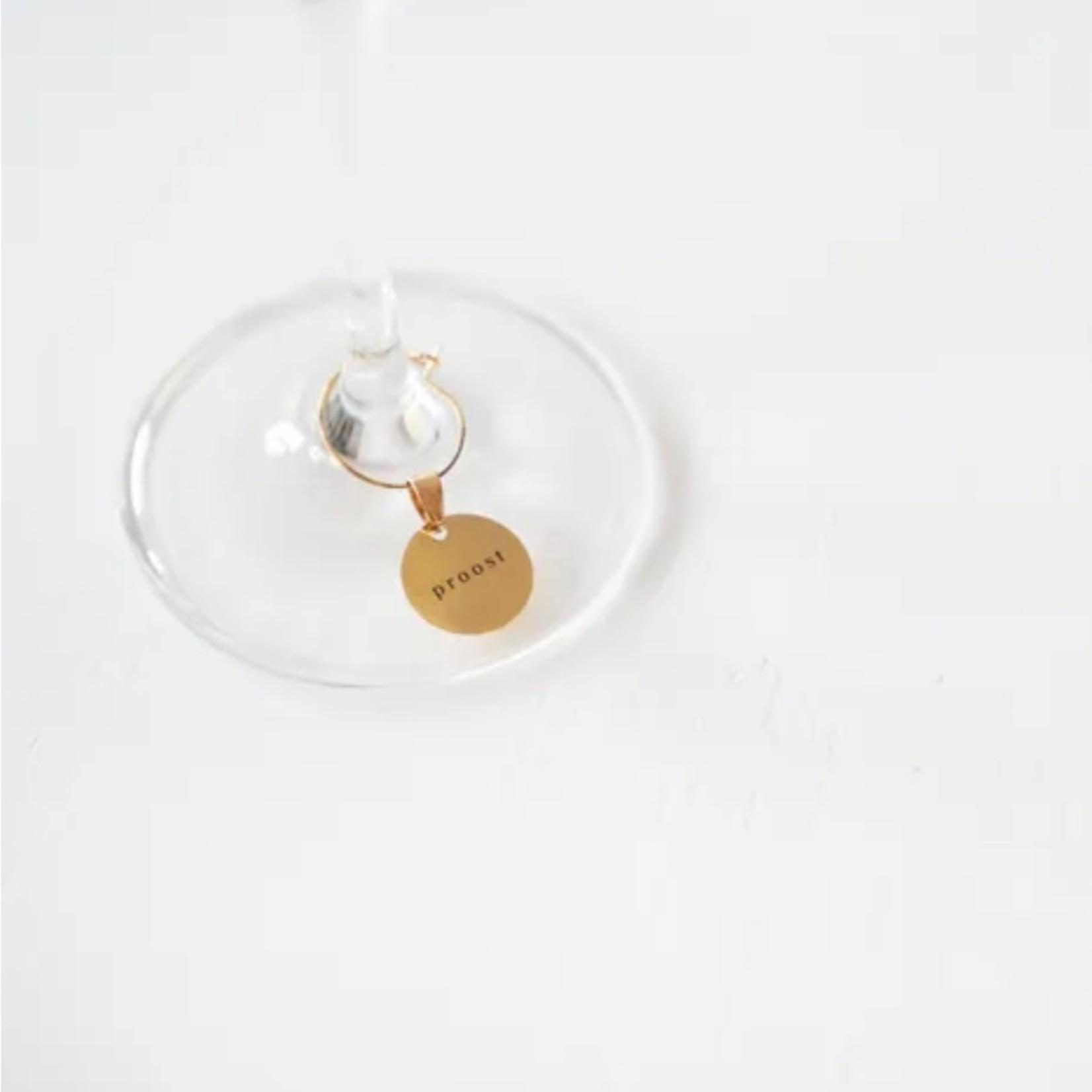 Set van 6 wijnglas-hangertjes metaal Zusss
