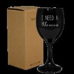 Wijnglas kaars 'I need a hug...' - Zwart