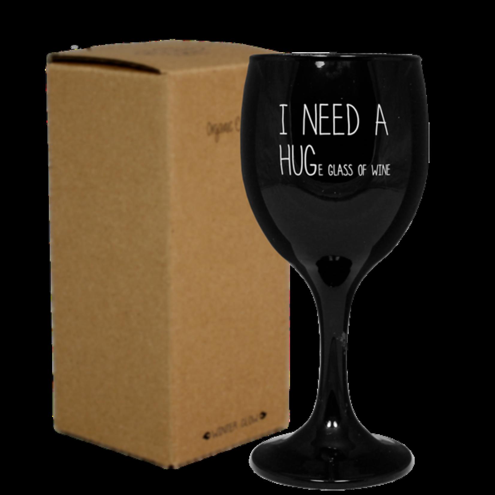 Wijnglas kaars zwart I need a hug...