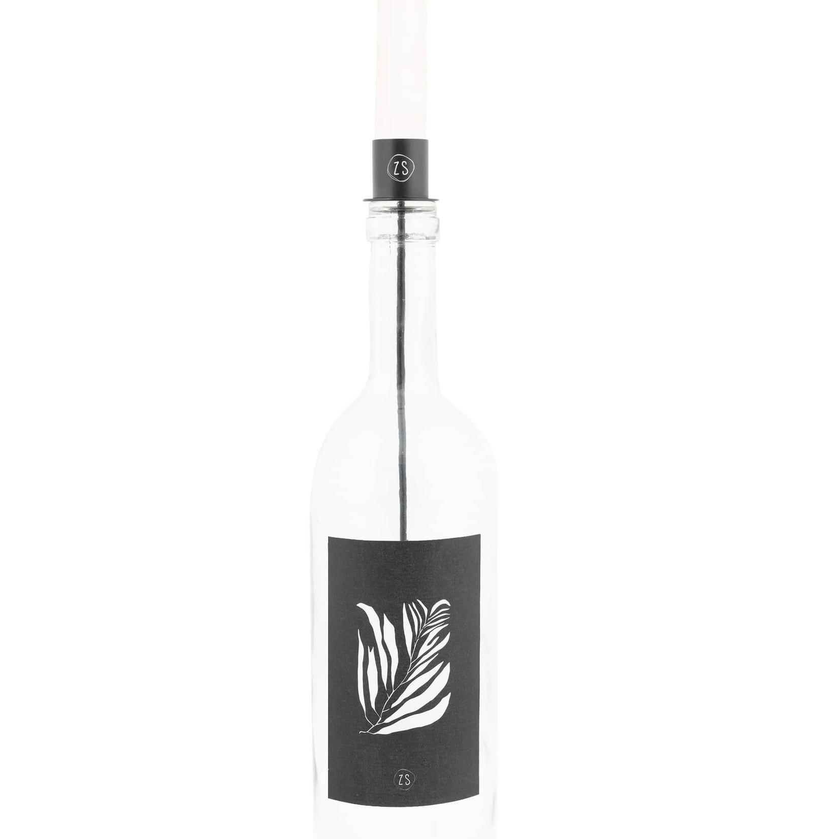Kaarsenhouder in fles zwart