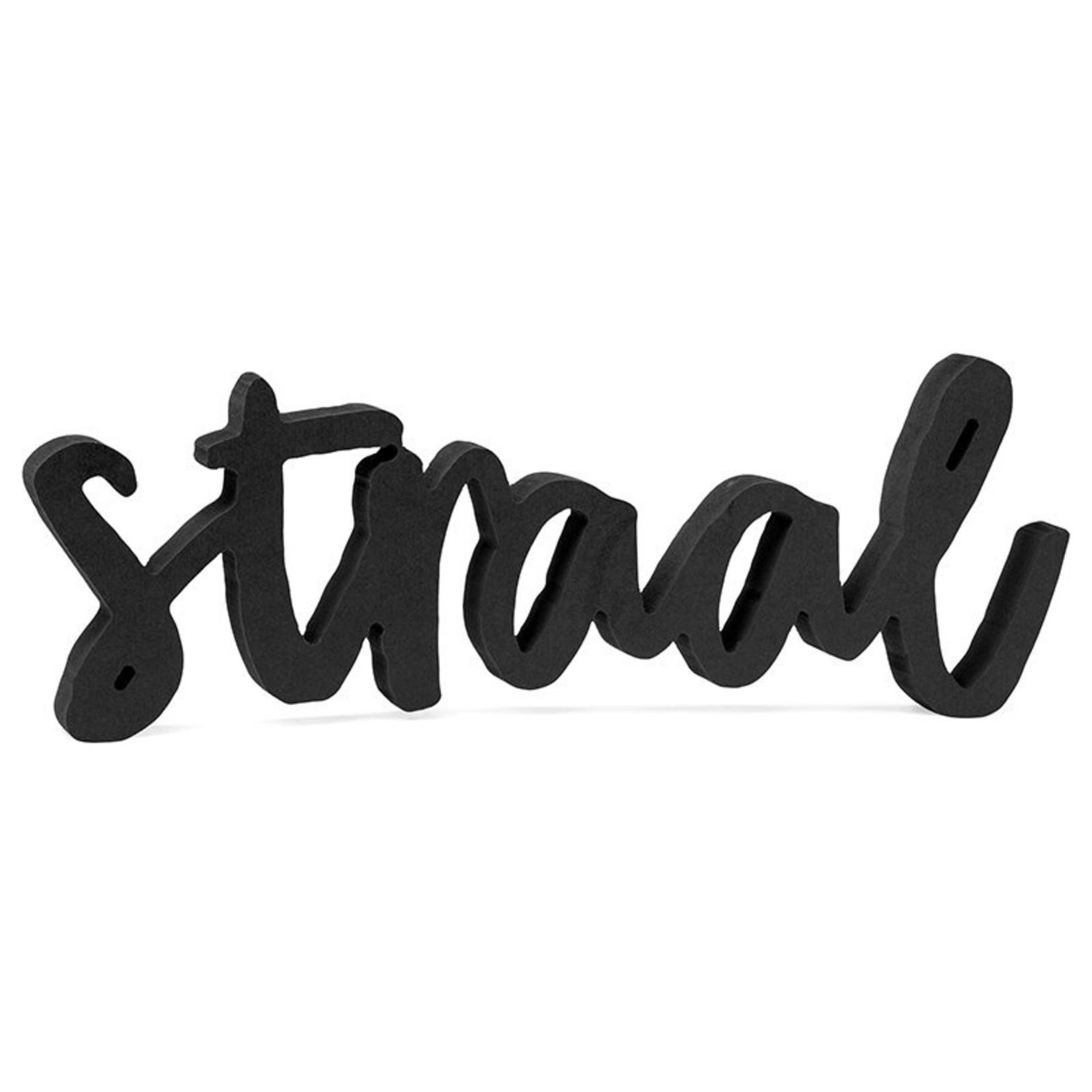 "Zoedt Woord ""Straal"" - Hout - Zwart"