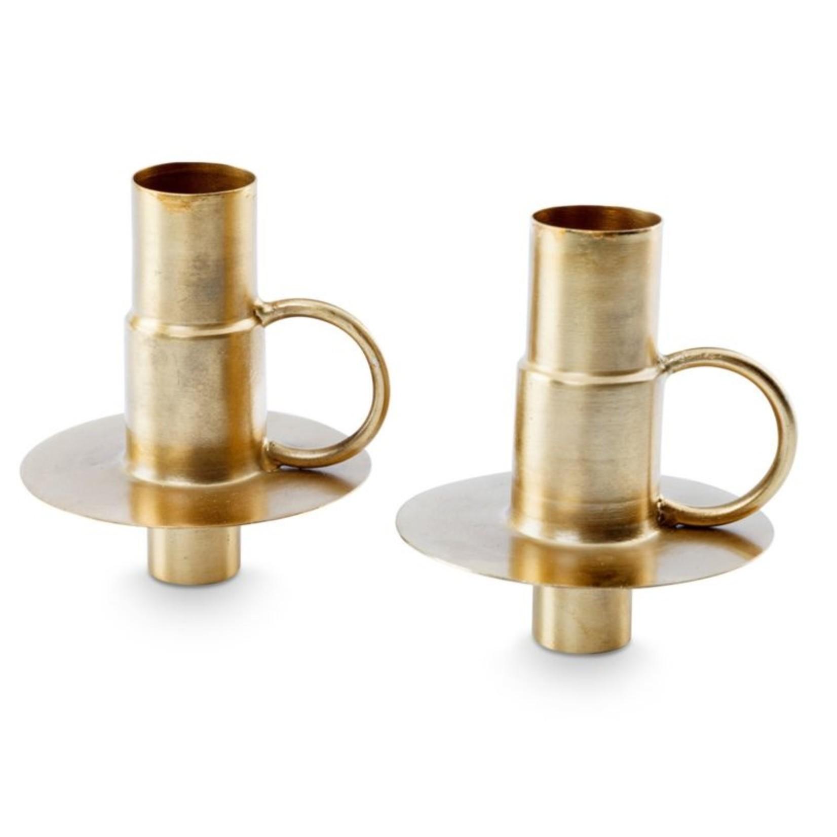 Set van 2 bottle candle holders goud