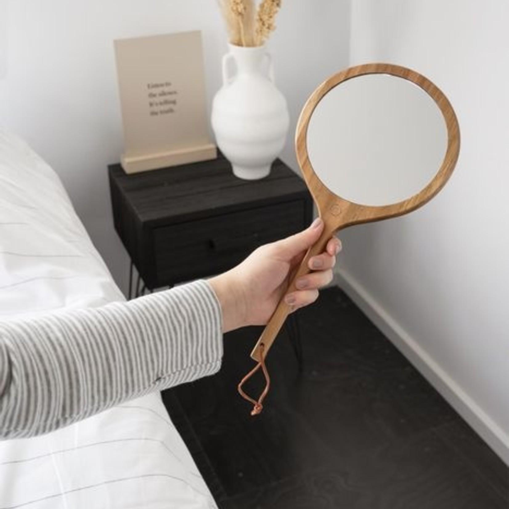 Zusss Handspiegel - Hout - Ø17x35cm