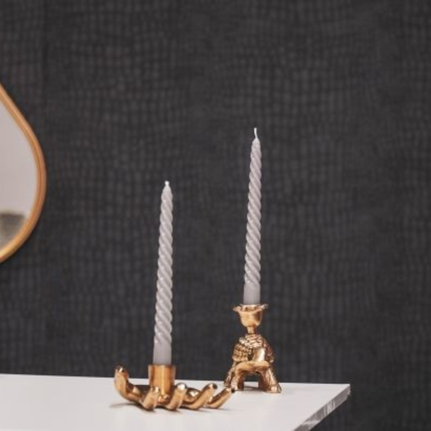House Vitamin Gedraaide kaarsen - Grijs - Set van 4