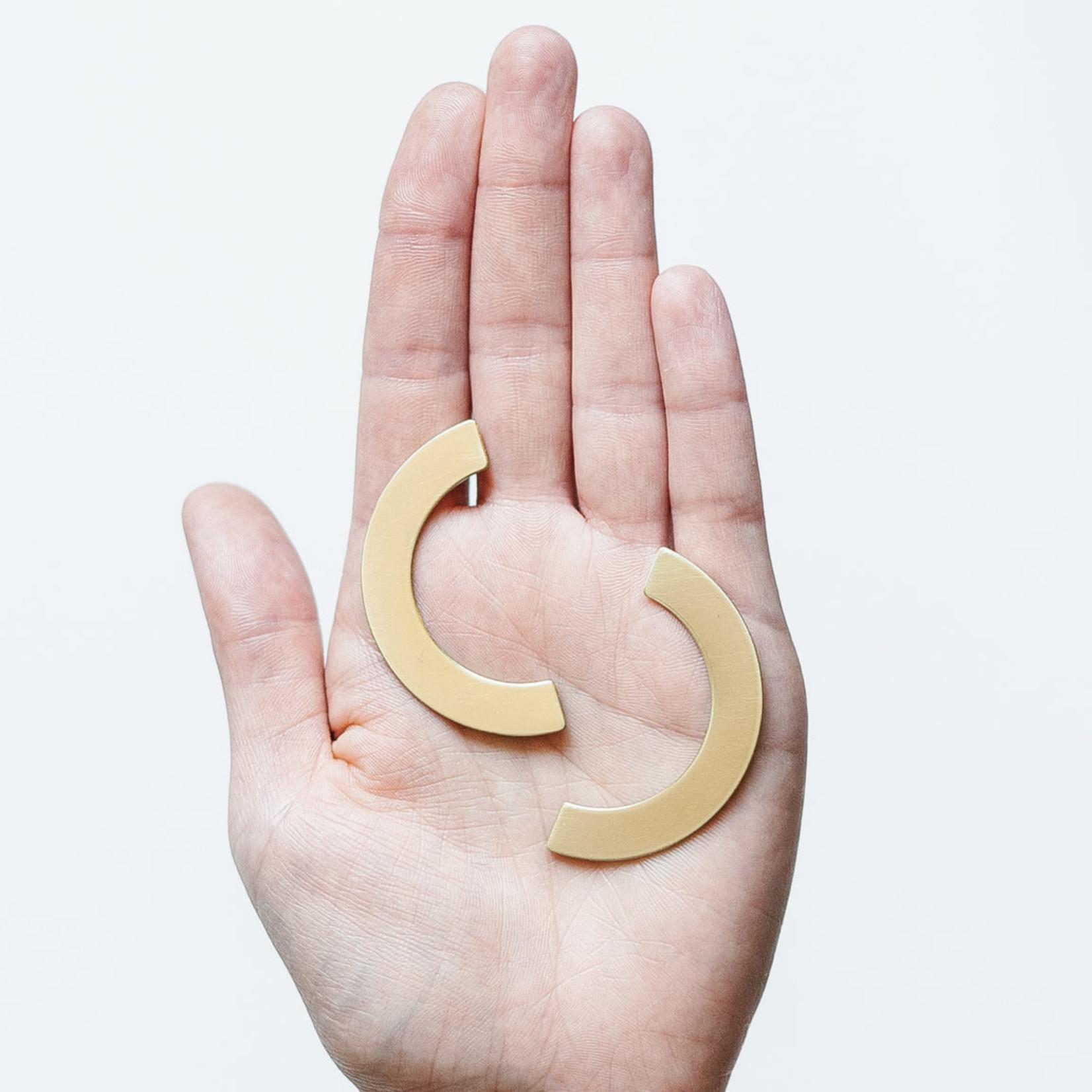 Inimini Homemade Oorbellen - Brass - Big rounded studs