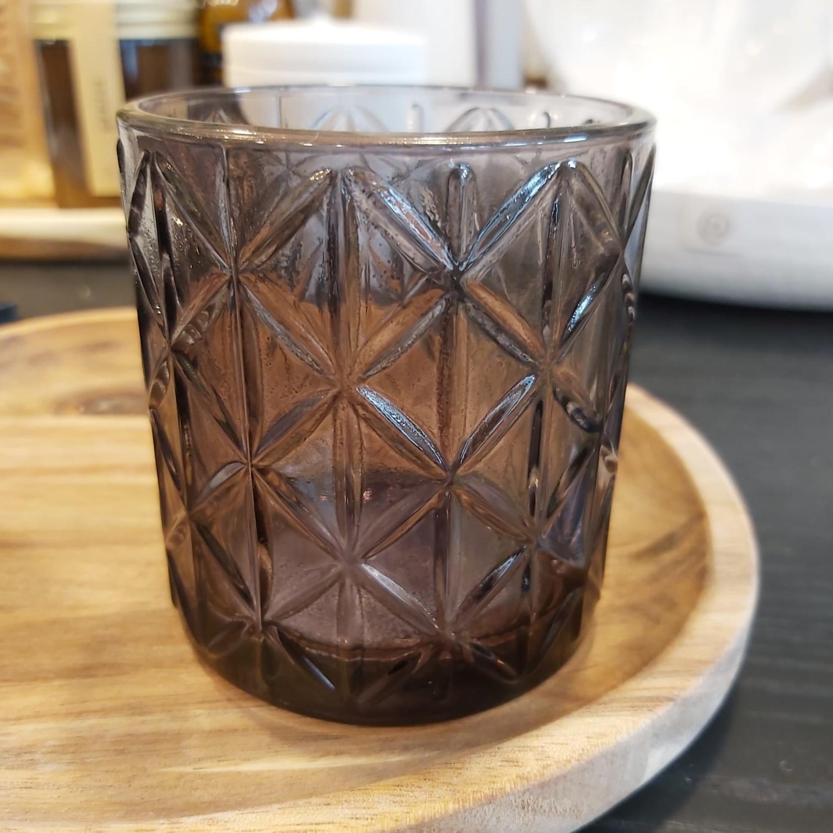 Theelichthouder - Glas - Zwart - Ø 7cm x 8cm