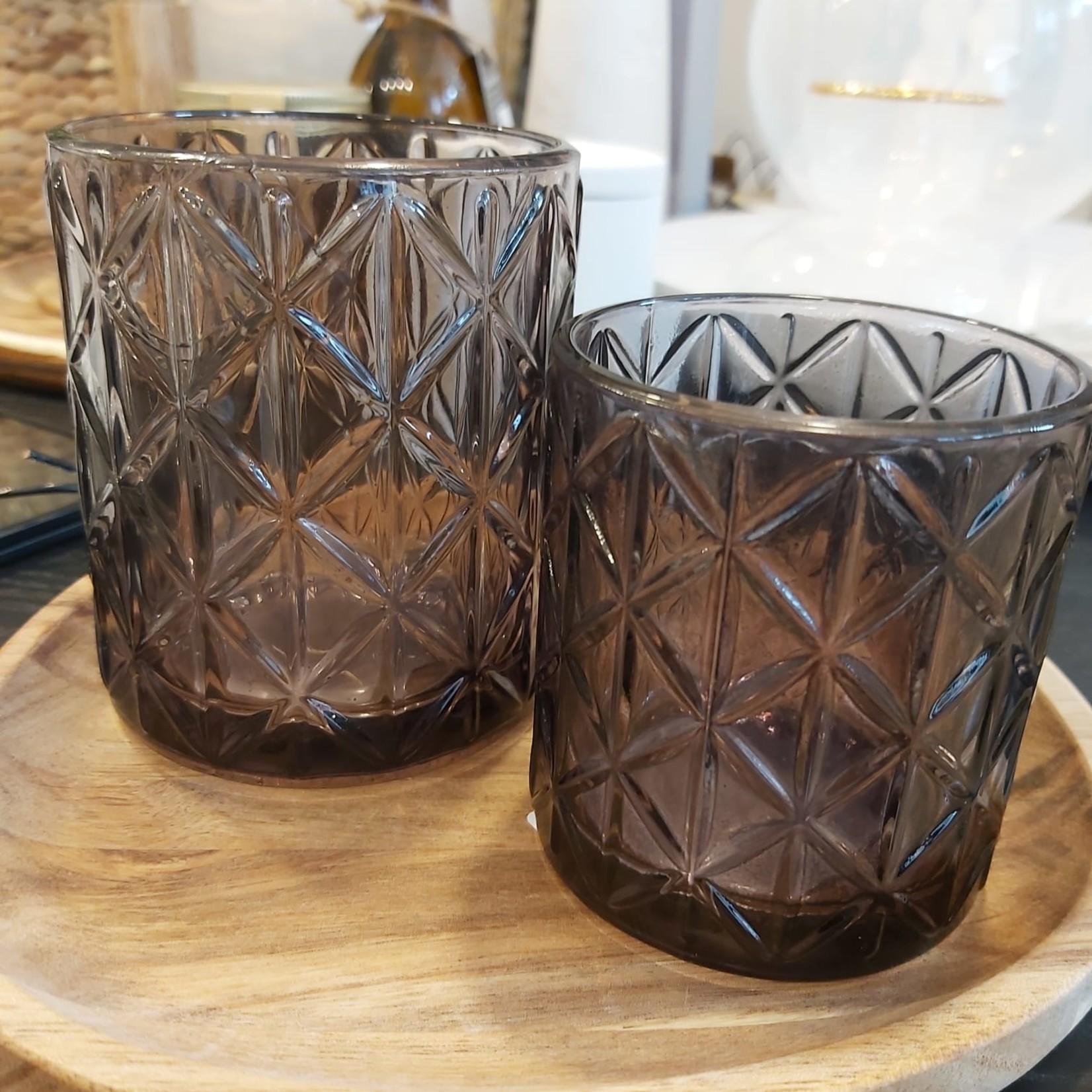 Theelichthouder - Glas - Zwart - Ø 8cm x 10cm
