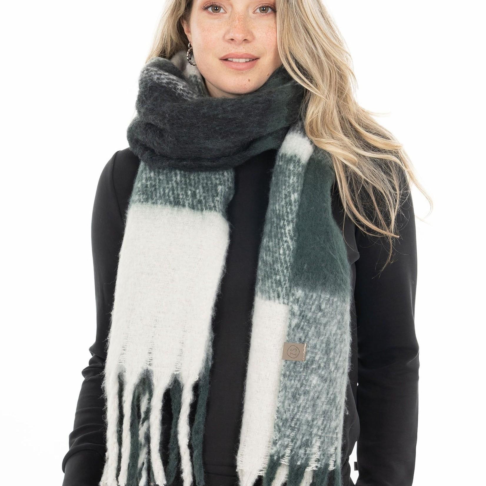 Zusss Sjaal met franjes - Geruit - Donkergroen