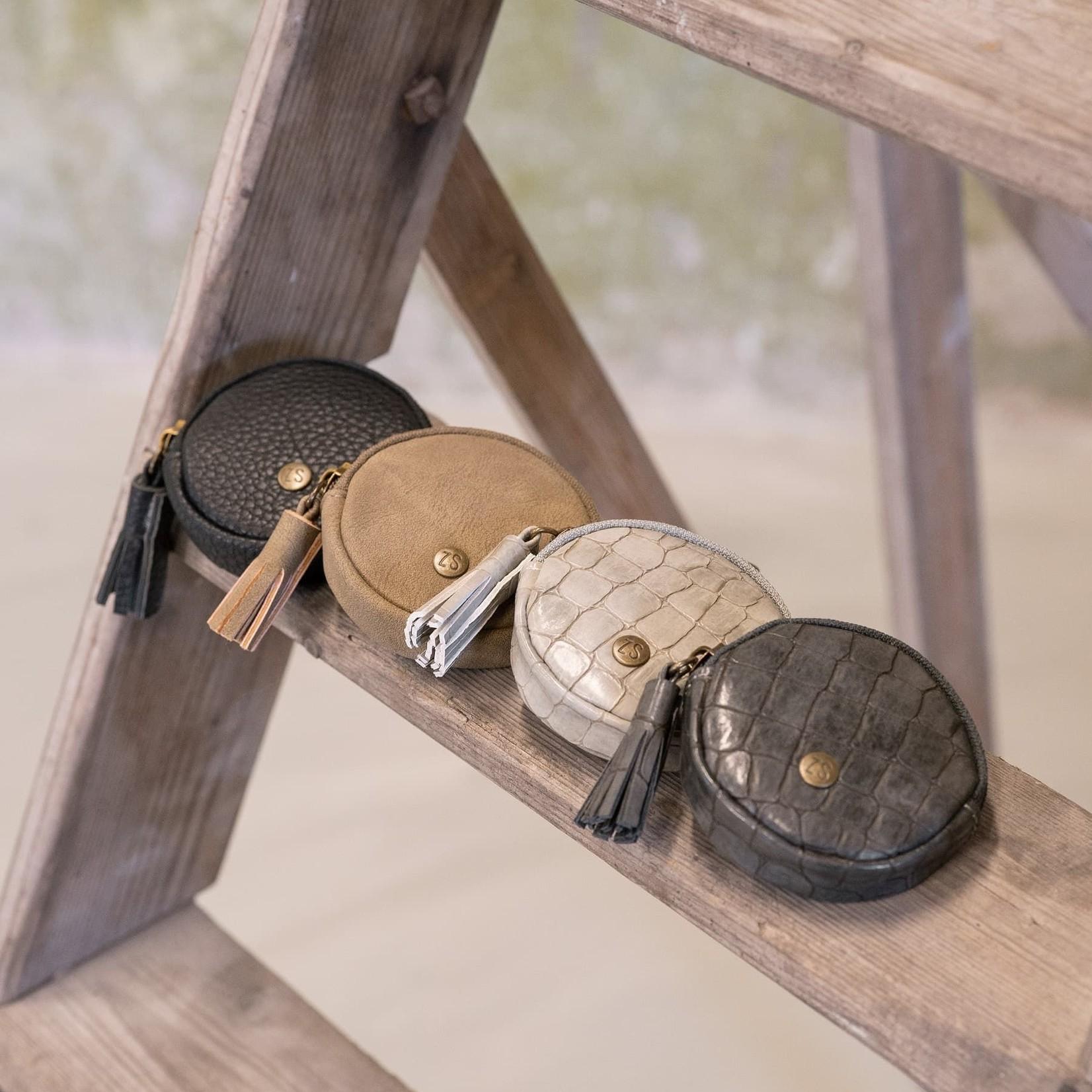 Zusss Sleutelhangertasje - Rond - Kroko zand