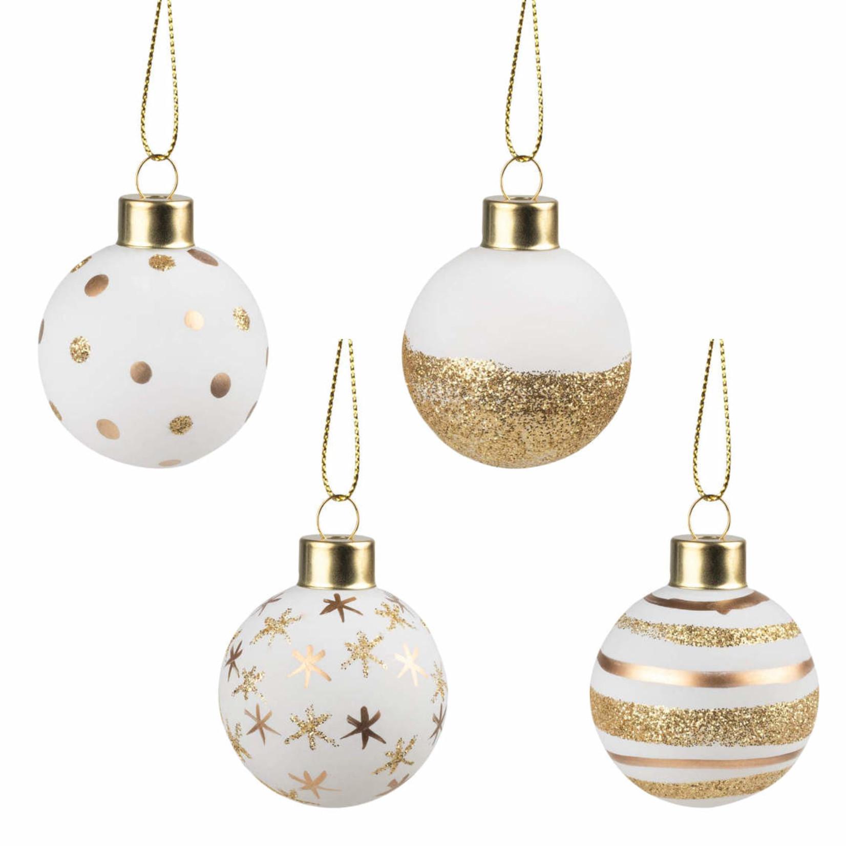 Räder Kerstballen - Wit/Goud - Set van 4