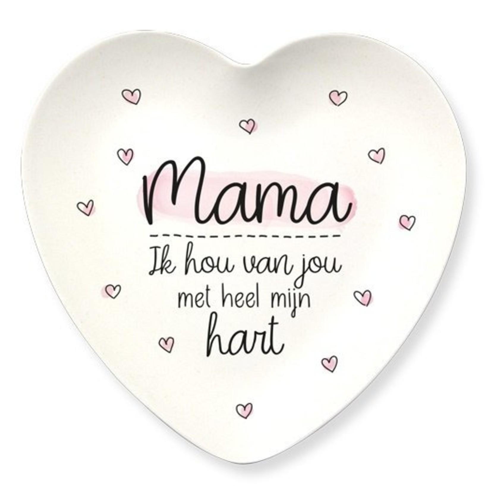 """Bordje """"Mama ik hou van jou met heel mijn hart"""" - Bamboe"""