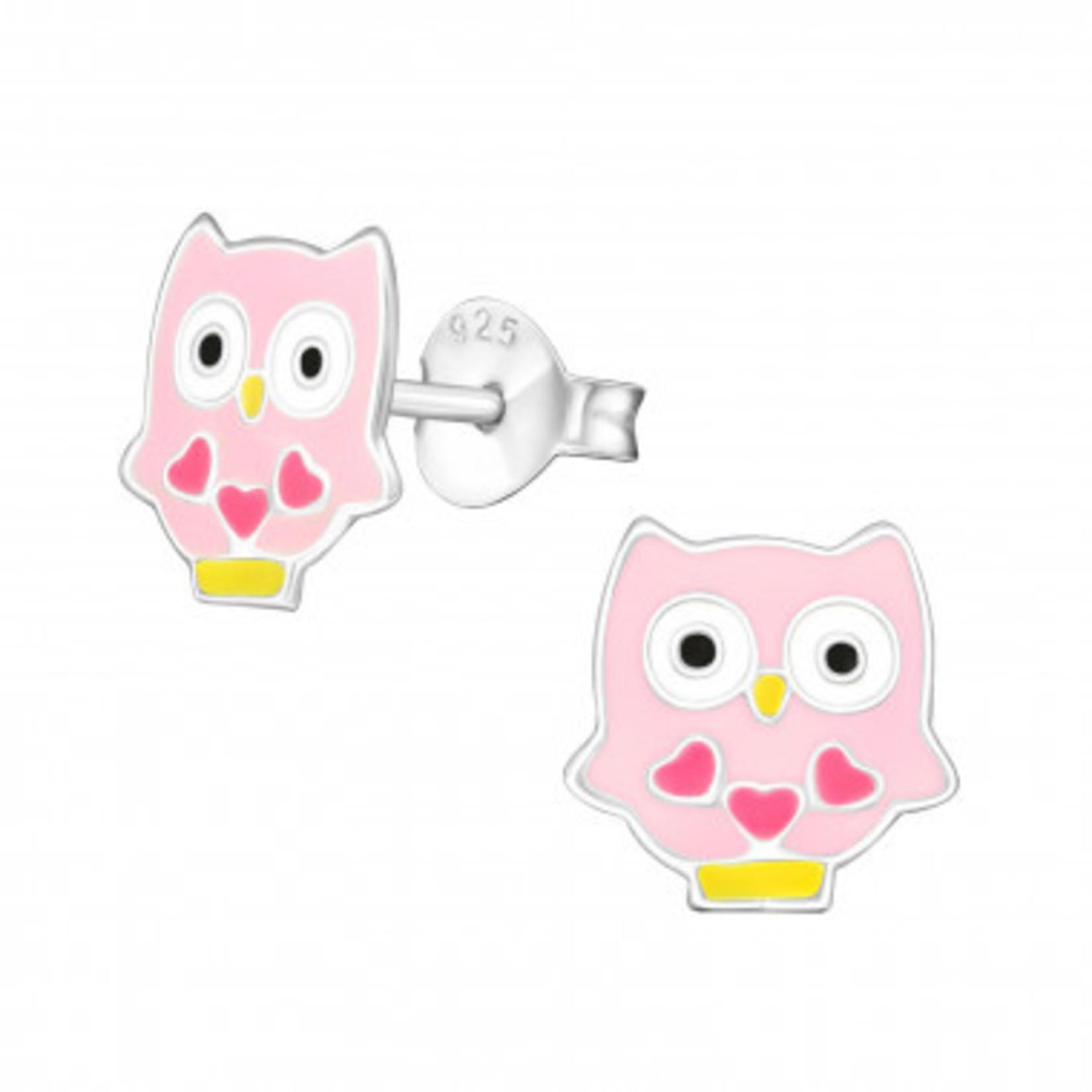 Oorstekers - Uil - Wit met roze hartjes