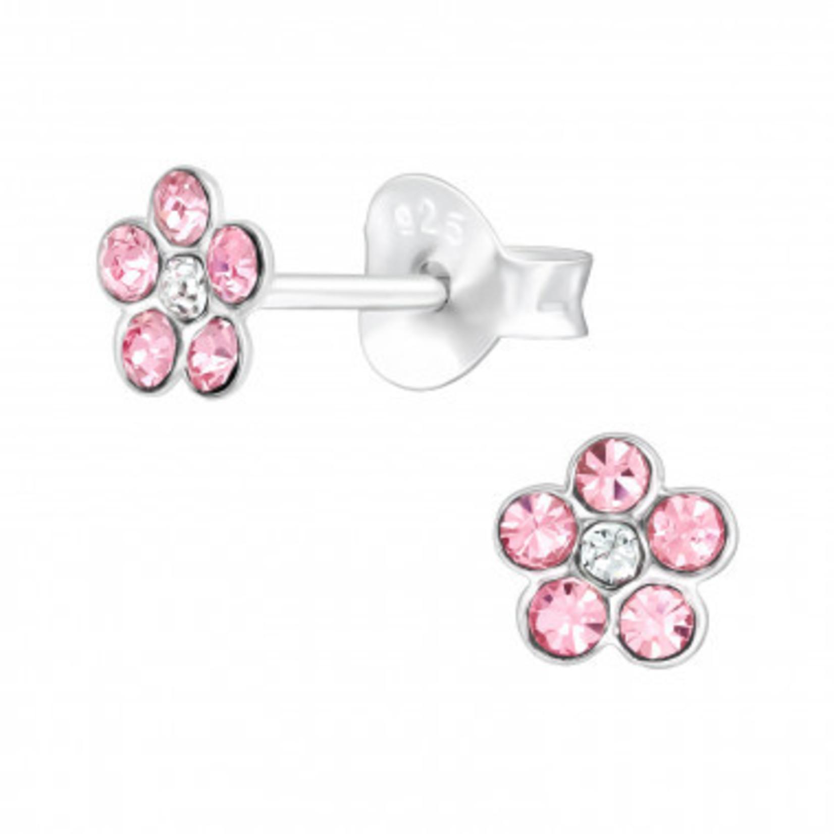 Oorstekers - Bloem - Roze met diamantjes