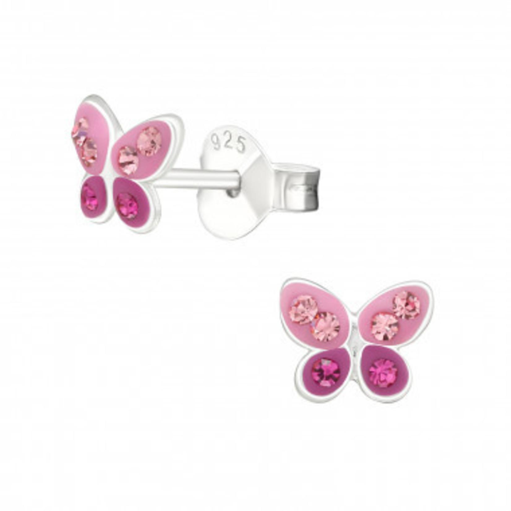 Oorstekers - Vlinder - Roze met diamanten