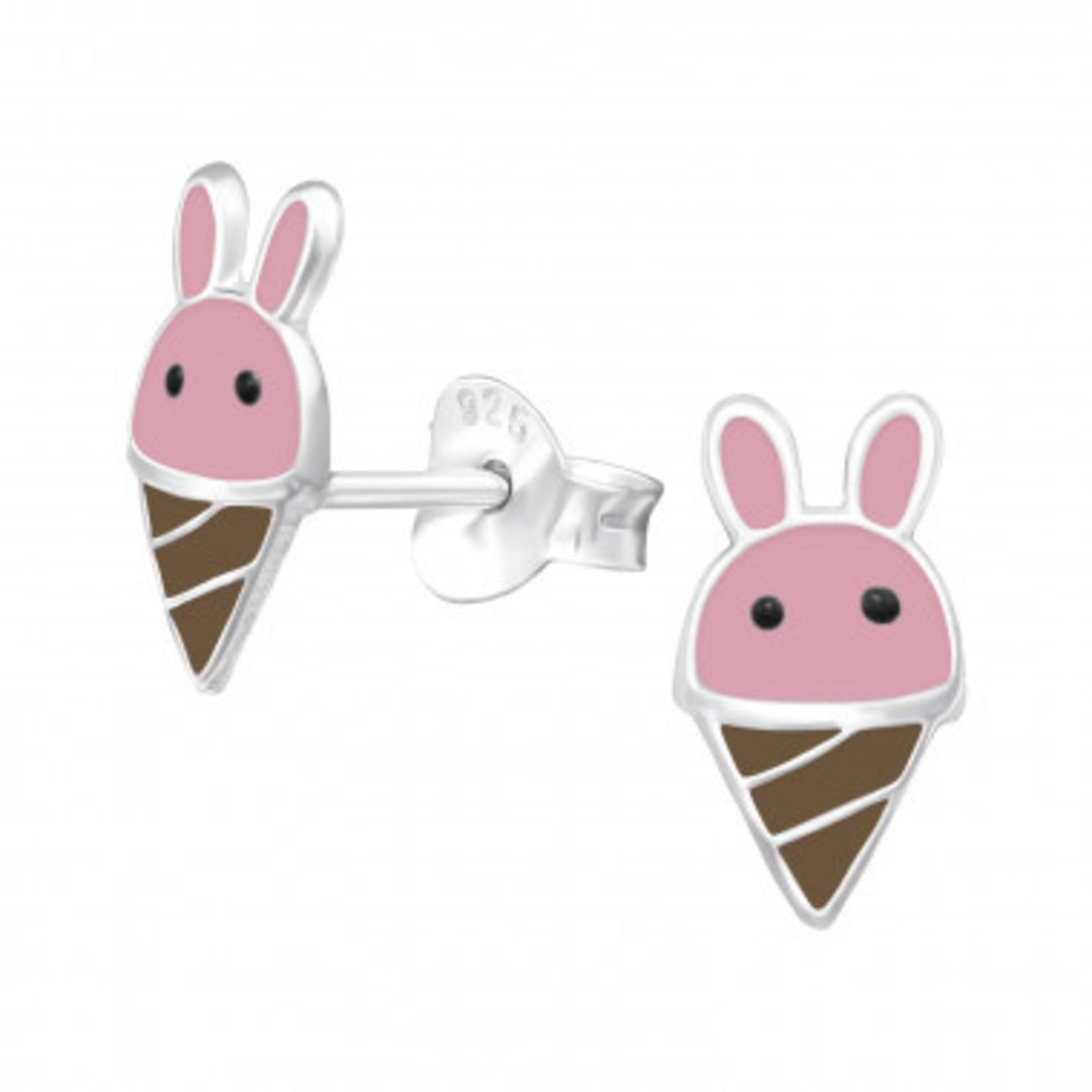 Oorstekers - Bunny ijs - Roze/licht bruin