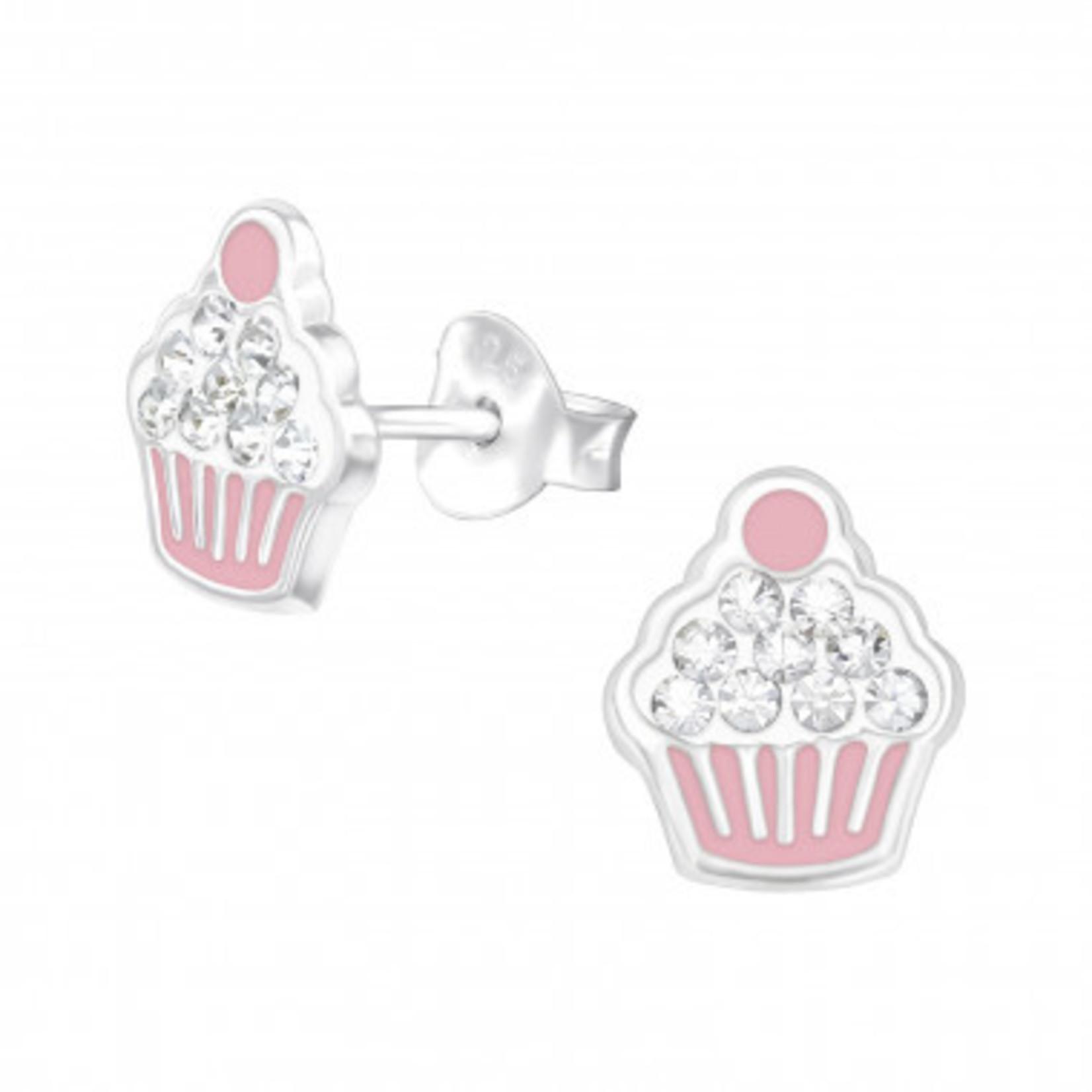 Oorstekers - Cupcake - Roze met diamanten