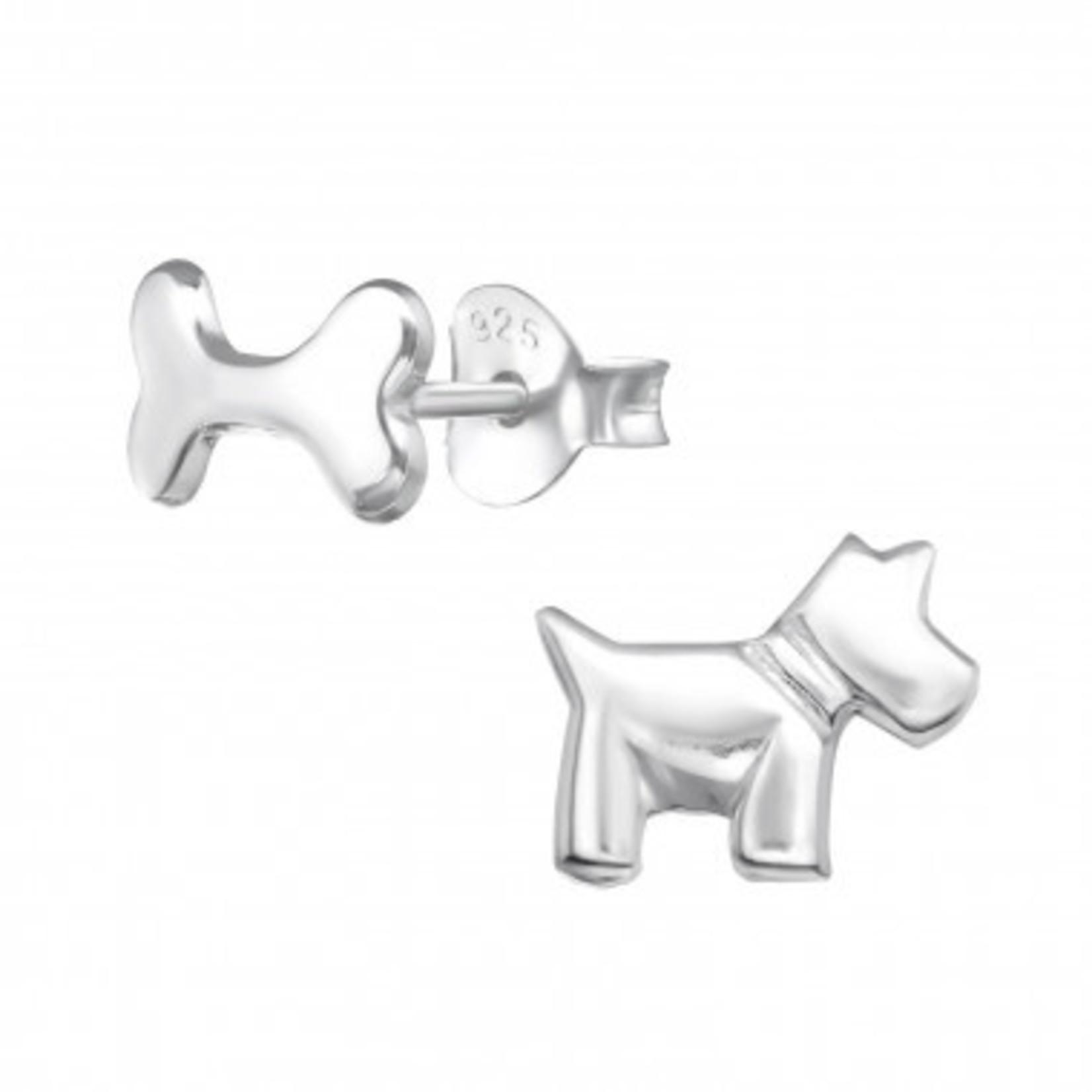 Oorstekers - Hond en bot - Zilver