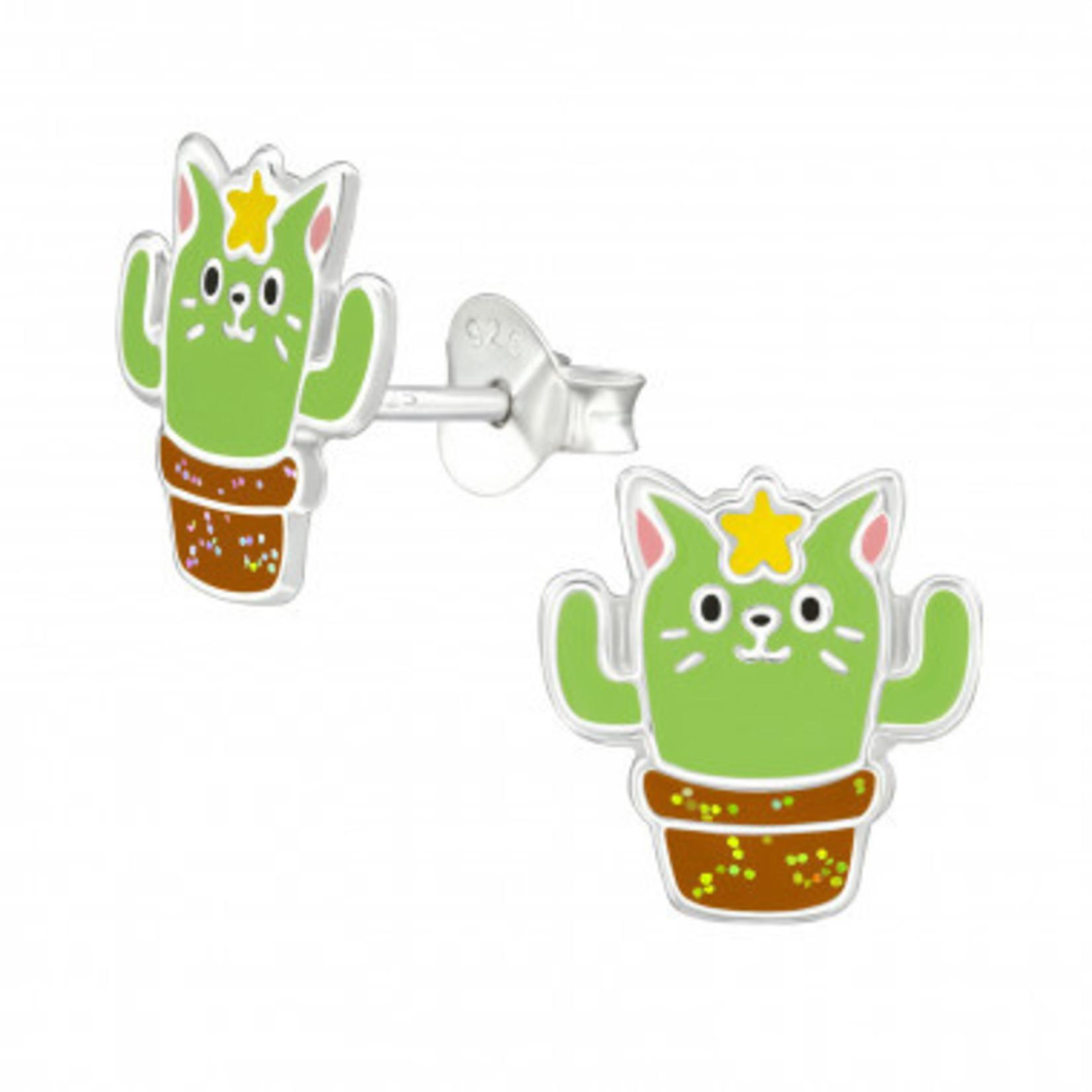 Oorstekers - Cactus kat - Licht groen