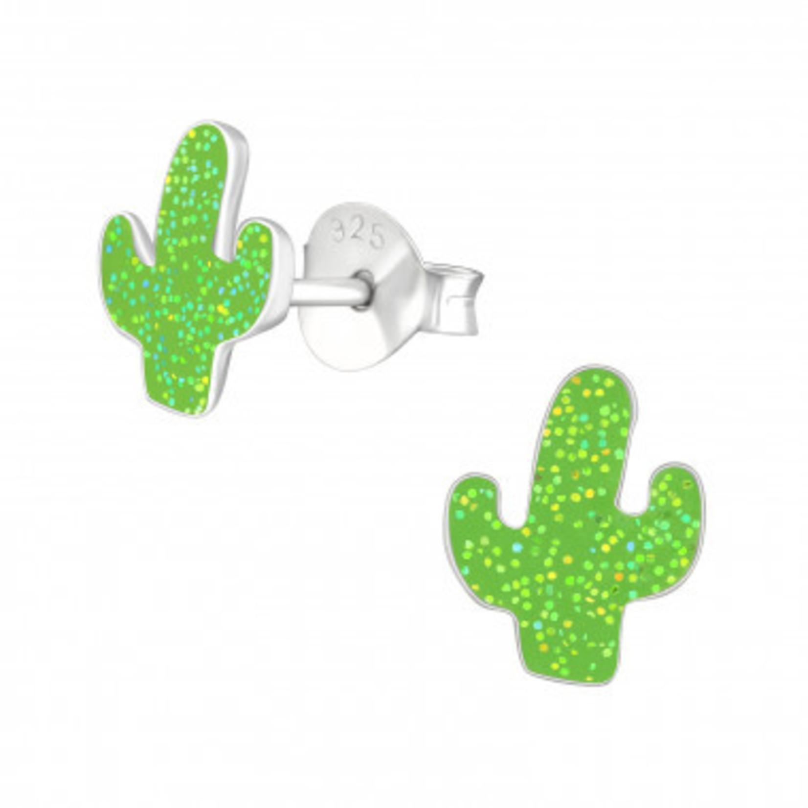 Oorstekers - Cactus met glitter - Licht groen