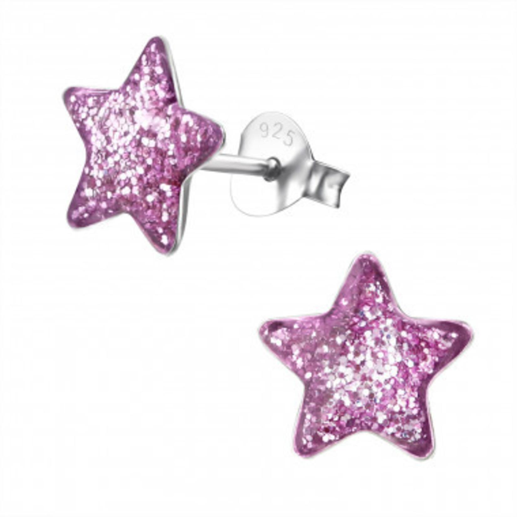 Oorstekers - Ster glitter - Roze